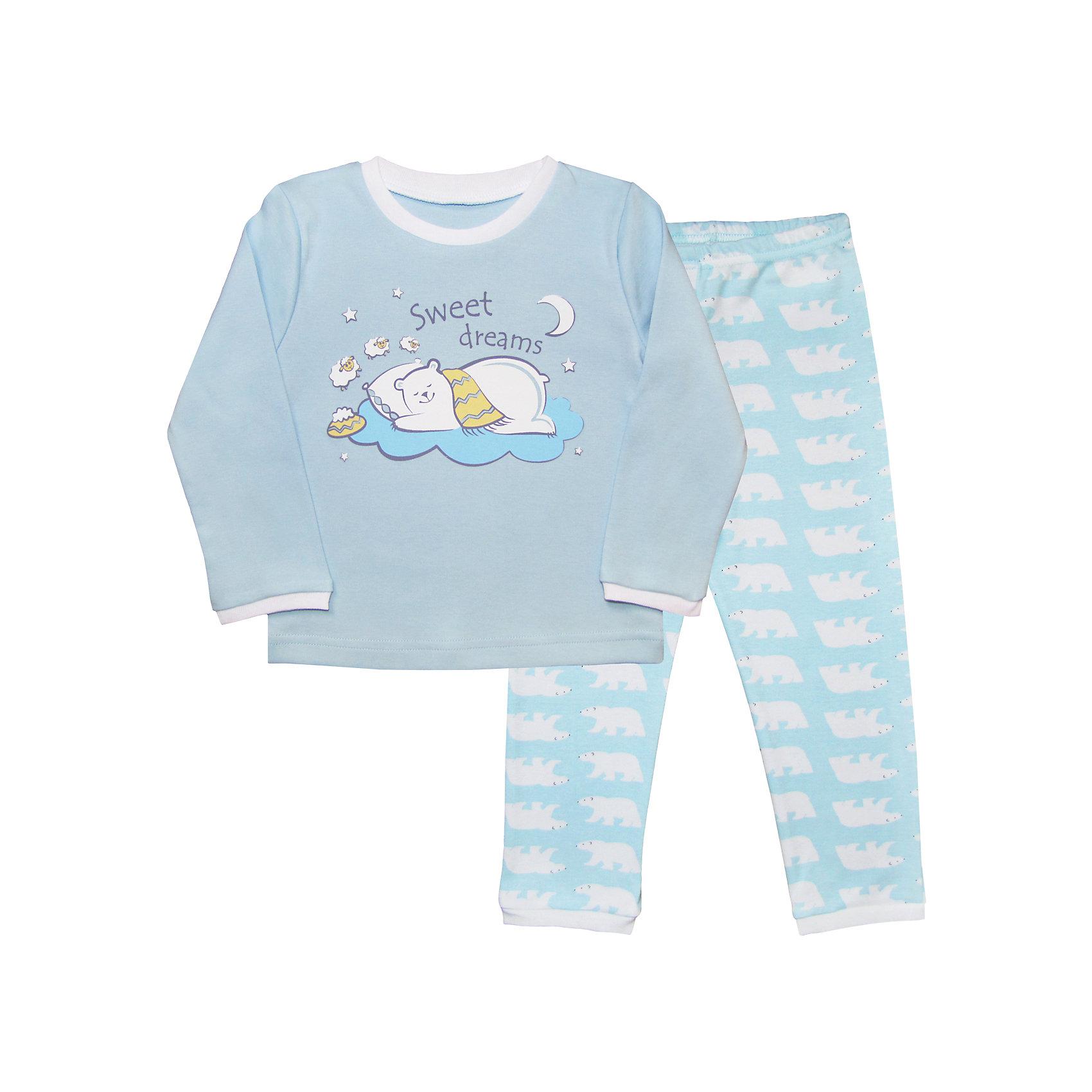 Пижама для мальчика Веселый малышДомашняя одежда для малышей должна быть удобной и качественной - это один из необходимых факторов для правильного развития и хорошего самочувствия ребенка.<br>Эта пижама отличается высоким качеством швов, продуманным кроем, что позволяет ей хорошо фиксироваться на теле малыша, не сползать и не натирать. Материал - интерлок. Это плотная ткань из натурального хлопка, гладкая, приятная на ощупь, дышащая и гипоаллергенная. Комплект состоит из штанишек и футболки с длинным рукавом.<br><br>Дополнительная информация:<br><br>материал: 100% хлопок интерлок;<br>украшена принтом;<br>комплектация: штаны, футболка с длинным рукавом.<br><br>Пижаму от бренда Веселый малыш можно купить в нашем магазине.<br><br>Ширина мм: 157<br>Глубина мм: 13<br>Высота мм: 119<br>Вес г: 200<br>Цвет: голубой<br>Возраст от месяцев: 12<br>Возраст до месяцев: 18<br>Пол: Мужской<br>Возраст: Детский<br>Размер: 86,92,98,116,110,104<br>SKU: 4810372