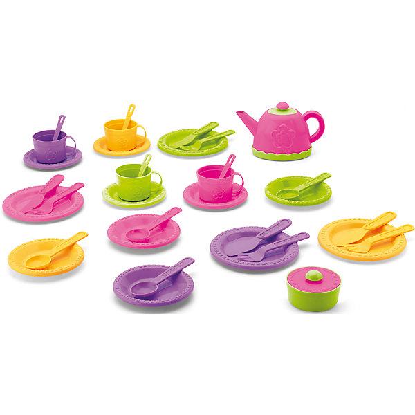 Набор Чаепитие, 34 предмета, KeenwayДетские кухни<br>Набор Чаепитие от Keenway - отличный подарок ребенку. Это красочная игрушка, которая обязательно понравится девочке. Она выполнена в виде посуды: это -  чашки, тарелки, ложки и многое другое. Замечательный игровой набор надолго увлечет девочку!<br>Игрушка по габаритам идеально подходит для маленьких ручек малыша. Весит совсем немного. Такие игрушки помогают развить мелкую моторику, логическое мышление и воображение ребенка. Эта игрушка выполнена из высококачественного прочного пластика, безопасного для детей.<br>  <br>Дополнительная информация:<br><br>цвет: разноцветный;<br>материал: пластик;<br>размер упаковки: 40x40x9 см;<br>комплектация: <br>4 чашки,<br>12 тарелок,<br>8 ложек,<br>4 вилки,<br>4 ножичка,<br>чайник,<br>сахарница;<br>вес: 900 г.<br><br>Набор Чаепитие от компании Keenway можно купить в нашем магазине.<br><br>Ширина мм: 101<br>Глубина мм: 203<br>Высота мм: 101<br>Вес г: 460<br>Возраст от месяцев: 36<br>Возраст до месяцев: 120<br>Пол: Женский<br>Возраст: Детский<br>SKU: 4810972