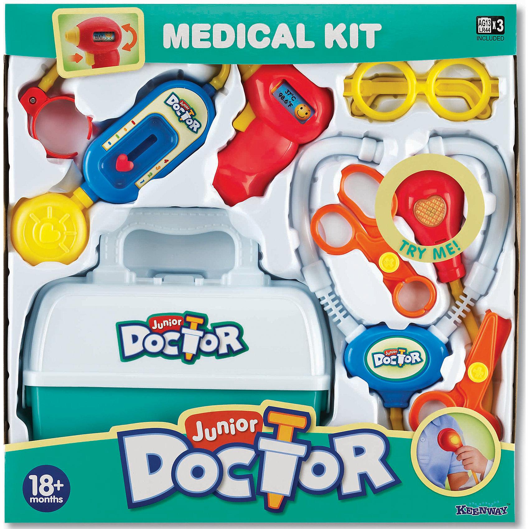 Игровой набор Мой доктор, KeenwayДети всегда стараются подражать тому, что видят, поэтому набор Мой доктор от  Keenway - отличный подарок ребенку. Это красочная игрушка, которая обязательно понравится ребенку. Она выполнена в виде предметов, которые можно встретить в больнице: тонометр, фонендоскоп, ножницы, зажим, очки, чтобы начинающий доктор выглядел солиднее. Инструменты максимально похожи на настоящие! <br>Игрушка по габаритам идеально подходит для маленьких ручек малыша. Весит совсем немного. Такие игрушки помогают развить мелкую моторику, логическое мышление и воображение ребенка. Эта игрушка выполнена из высококачественного прочного пластика, безопасного для детей.<br>  <br>Дополнительная информация:<br><br>цвет: разноцветный;<br>материал: пластик;<br>размер игрушки: 0,38 x 0,39 x 0,9 м;<br>батарейки: 2ХхАА, в комплекте;<br>комплектация: тонометр, фонендоскоп, ножницы, зажим, очки;<br>вес:  0,2 кг.<br><br>Набор Мой доктор от компании Keenway можно купить в нашем магазине.<br><br>Ширина мм: 406<br>Глубина мм: 88<br>Высота мм: 406<br>Вес г: 841<br>Возраст от месяцев: 36<br>Возраст до месяцев: 120<br>Пол: Унисекс<br>Возраст: Детский<br>SKU: 4810974