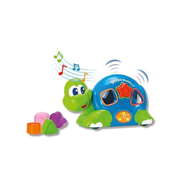 Черепашка с паззлами, со звуком и светом, KeenwayРазвивающие игрушки<br>Черепашка с паззлами, со звуком и светом от  Keenway - отличный подарок ребенку. Это красочная игрушка, которая обязательно понравится малышу. Она выполнена в виде веселой черепахи. Черепашка не только ездит, но и мигает глазками, а так же воспроизводит удивительные веселые мелодии. Чтобы начать игру, следует нажать на специальную клавишу, включающую музыкальное сопровождение.<br>Игрушка по габаритам идеально подходит для маленьких ручек малыша. Весит совсем немного. Такие игрушки помогают развить мелкую моторику, логическое мышление и воображение ребенка. Эта игрушка выполнена из высококачественного прочного пластика, безопасного для детей.<br>  <br>Дополнительная информация:<br><br>цвет: разноцветный;<br>материал: пластик;<br>размер: 26 х 12 х 16 см;<br>комплектация: черепашка, 5 формочек;<br>вес: 827 г.<br><br>Черепашку с паззлами, со звуком и светом от компании Keenway можно купить в нашем магазине.<br>Ширина мм: 345; Глубина мм: 200; Высота мм: 165; Вес г: 770; Возраст от месяцев: 36; Возраст до месяцев: 120; Пол: Унисекс; Возраст: Детский; SKU: 4810980;
