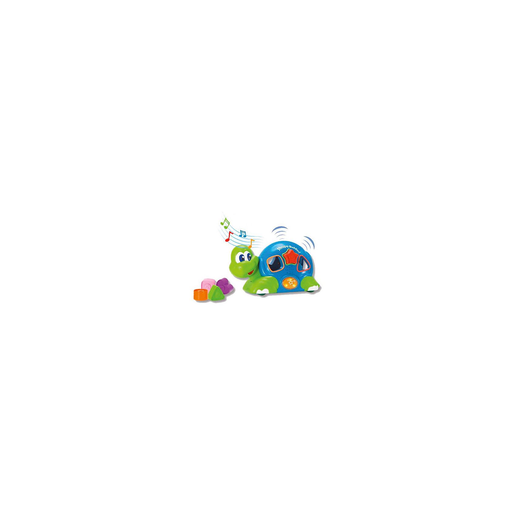 Черепашка с паззлами, со звуком и светом, KeenwayИгрушки для малышей<br>Черепашка с паззлами, со звуком и светом от  Keenway - отличный подарок ребенку. Это красочная игрушка, которая обязательно понравится малышу. Она выполнена в виде веселой черепахи. Черепашка не только ездит, но и мигает глазками, а так же воспроизводит удивительные веселые мелодии. Чтобы начать игру, следует нажать на специальную клавишу, включающую музыкальное сопровождение.<br>Игрушка по габаритам идеально подходит для маленьких ручек малыша. Весит совсем немного. Такие игрушки помогают развить мелкую моторику, логическое мышление и воображение ребенка. Эта игрушка выполнена из высококачественного прочного пластика, безопасного для детей.<br>  <br>Дополнительная информация:<br><br>цвет: разноцветный;<br>материал: пластик;<br>размер: 26 х 12 х 16 см;<br>комплектация: черепашка, 5 формочек;<br>вес: 827 г.<br><br>Черепашку с паззлами, со звуком и светом от компании Keenway можно купить в нашем магазине.<br><br>Ширина мм: 345<br>Глубина мм: 200<br>Высота мм: 165<br>Вес г: 770<br>Возраст от месяцев: 36<br>Возраст до месяцев: 120<br>Пол: Унисекс<br>Возраст: Детский<br>SKU: 4810980