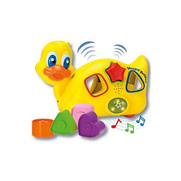 Уточка с паззлами, со звуком и светом, KeenwayРазвивающие игрушки<br>Уточка-каталка с паззлами, со звуком и светом от  Keenway - отличный подарок ребенку. Это красочная игрушка, которая обязательно понравится малышу. Она выполнена в виде веселой уточки. Уточка не только ездит, но и мигает глазками, а так же воспроизводит удивительные веселые мелодии. Чтобы начать игру, следует нажать на специальную клавишу, включающую музыкальное сопровождение.<br>Игрушка по габаритам идеально подходит для маленьких ручек малыша. Весит совсем немного. Такие игрушки помогают развить мелкую моторику, логическое мышление и воображение ребенка. Эта игрушка выполнена из высококачественного прочного пластика, безопасного для детей.<br>  <br>Дополнительная информация:<br><br>цвет: разноцветный;<br>материал: пластик;<br>размер упаковки: 13 x 22 x 22 см;<br>комплектация: утка, формочки;<br>вес: 642 г.<br><br>Уточку с паззлами, со звуком и светом от компании Keenway можно купить в нашем магазине.<br><br>Ширина мм: 345<br>Глубина мм: 200<br>Высота мм: 165<br>Вес г: 626<br>Возраст от месяцев: 36<br>Возраст до месяцев: 120<br>Пол: Унисекс<br>Возраст: Детский<br>SKU: 4810981