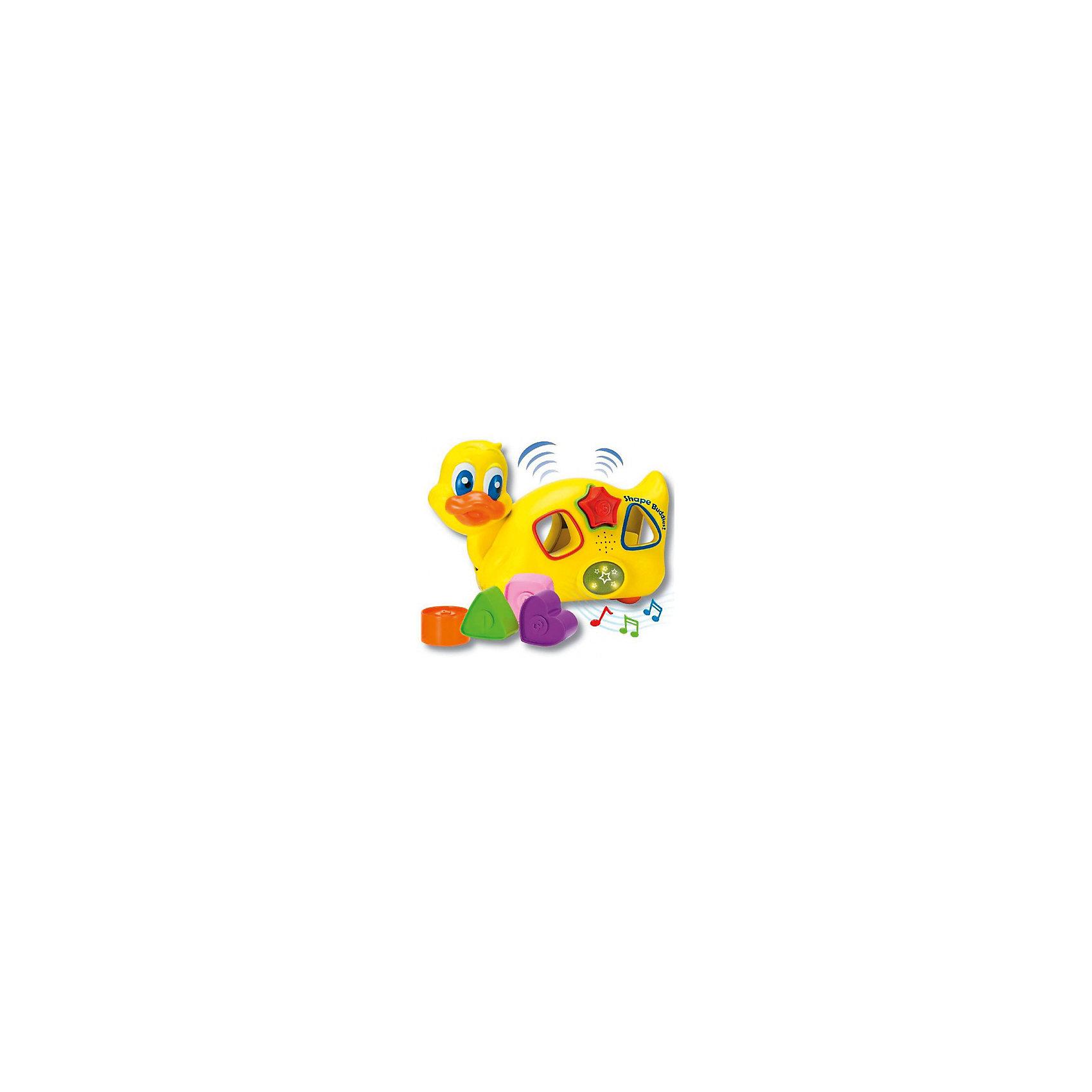 Уточка с паззлами, со звуком и светом, KeenwayСортеры<br>Уточка-каталка с паззлами, со звуком и светом от  Keenway - отличный подарок ребенку. Это красочная игрушка, которая обязательно понравится малышу. Она выполнена в виде веселой уточки. Уточка не только ездит, но и мигает глазками, а так же воспроизводит удивительные веселые мелодии. Чтобы начать игру, следует нажать на специальную клавишу, включающую музыкальное сопровождение.<br>Игрушка по габаритам идеально подходит для маленьких ручек малыша. Весит совсем немного. Такие игрушки помогают развить мелкую моторику, логическое мышление и воображение ребенка. Эта игрушка выполнена из высококачественного прочного пластика, безопасного для детей.<br>  <br>Дополнительная информация:<br><br>цвет: разноцветный;<br>материал: пластик;<br>размер упаковки: 13 x 22 x 22 см;<br>комплектация: утка, формочки;<br>вес: 642 г.<br><br>Уточку с паззлами, со звуком и светом от компании Keenway можно купить в нашем магазине.<br><br>Ширина мм: 345<br>Глубина мм: 200<br>Высота мм: 165<br>Вес г: 626<br>Возраст от месяцев: 36<br>Возраст до месяцев: 120<br>Пол: Унисекс<br>Возраст: Детский<br>SKU: 4810981