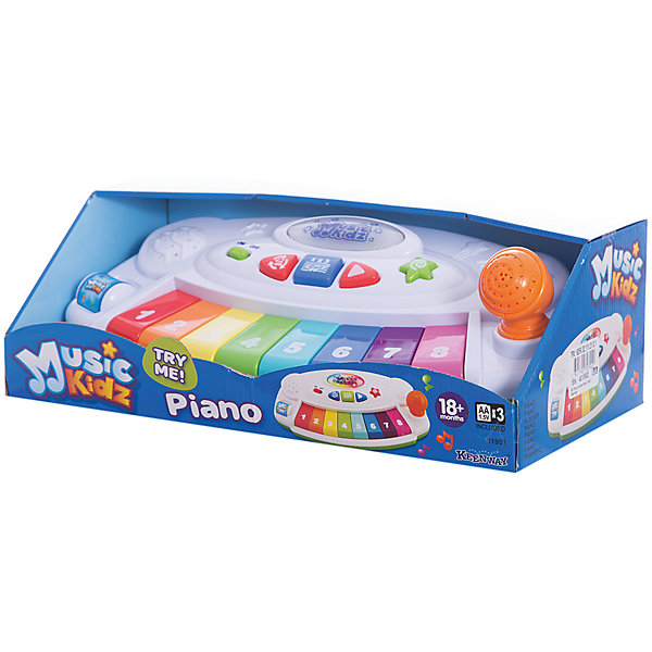 Пианино, серия Music Kidz, KeenwayДетские музыкальные инструменты<br>Музыкальная игрушка Пианино от  Keenway - отличный подарок ребенку. Это красочная игрушка, которая обязательно понравится малышу. Она выполнена в виде синтезатора. С помощью 8 клавиш ребенок сможет сыграть свою первую мелодию или попытаться повторить только что услышанную композицию. Играть на музыкальном инструменте можно в нескольких вариантах. Слева располагается цилиндр, который можно вращать (как у настоящих ди-джеев) .<br>Игрушка по габаритам идеально подходит для маленьких ручек малыша. Весит совсем немного. Такие игрушки помогают развить мелкую моторику, логическое мышление и воображение ребенка. Эта игрушка выполнена из высококачественного прочного пластика, безопасного для детей.<br>  <br>Дополнительная информация:<br><br>цвет: разноцветный;<br>материал: пластик;<br>размер:  36х21х14 см;<br>батарейки: 3ХхАА, в комплекте.<br><br>Пианино, серия Music Kidz от компании Keenway можно купить в нашем магазине.<br>Ширина мм: 230; Глубина мм: 140; Высота мм: 230; Вес г: 642; Возраст от месяцев: 36; Возраст до месяцев: 120; Пол: Унисекс; Возраст: Детский; SKU: 4810982;