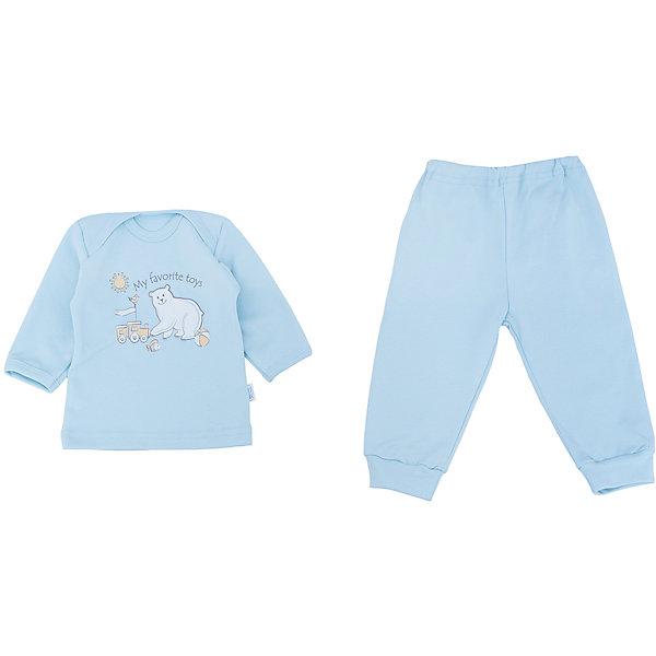 Пижама для мальчика Веселый малышПижамы<br>Очаровательная пижама от бренда Веселый малыш подарит вашему ребенку комфортный сон. Пижама изготовлена из 100% хлопка, приятного телу. Материал очень прочный и отлично сохраняет свои свойства после стирки. Ткань гипоаллергенная и не вызывает раздражения на чувствительной коже. Двойной ворот поможет вам с легкостью надеть пижаму на кроху. Штанишки с удобной резинкой и манжетами обеспечат отличную посадку. Верх украшен принтом с медвежонком. В этой пижаме малыш будет видеть самые сладкие сны!<br><br>Дополнительная информация:<br>Материал: интерлок-пенье<br>Состав: 100% хлопок<br>Цвет: голубой<br>Серия: Умка<br><br>Пижаму от бренда Веселый малыш можно купить в нашем интернет-магазине.<br><br>Ширина мм: 157<br>Глубина мм: 13<br>Высота мм: 119<br>Вес г: 200<br>Цвет: голубой<br>Возраст от месяцев: 6<br>Возраст до месяцев: 9<br>Пол: Мужской<br>Возраст: Детский<br>Размер: 74,80,68<br>SKU: 4810992