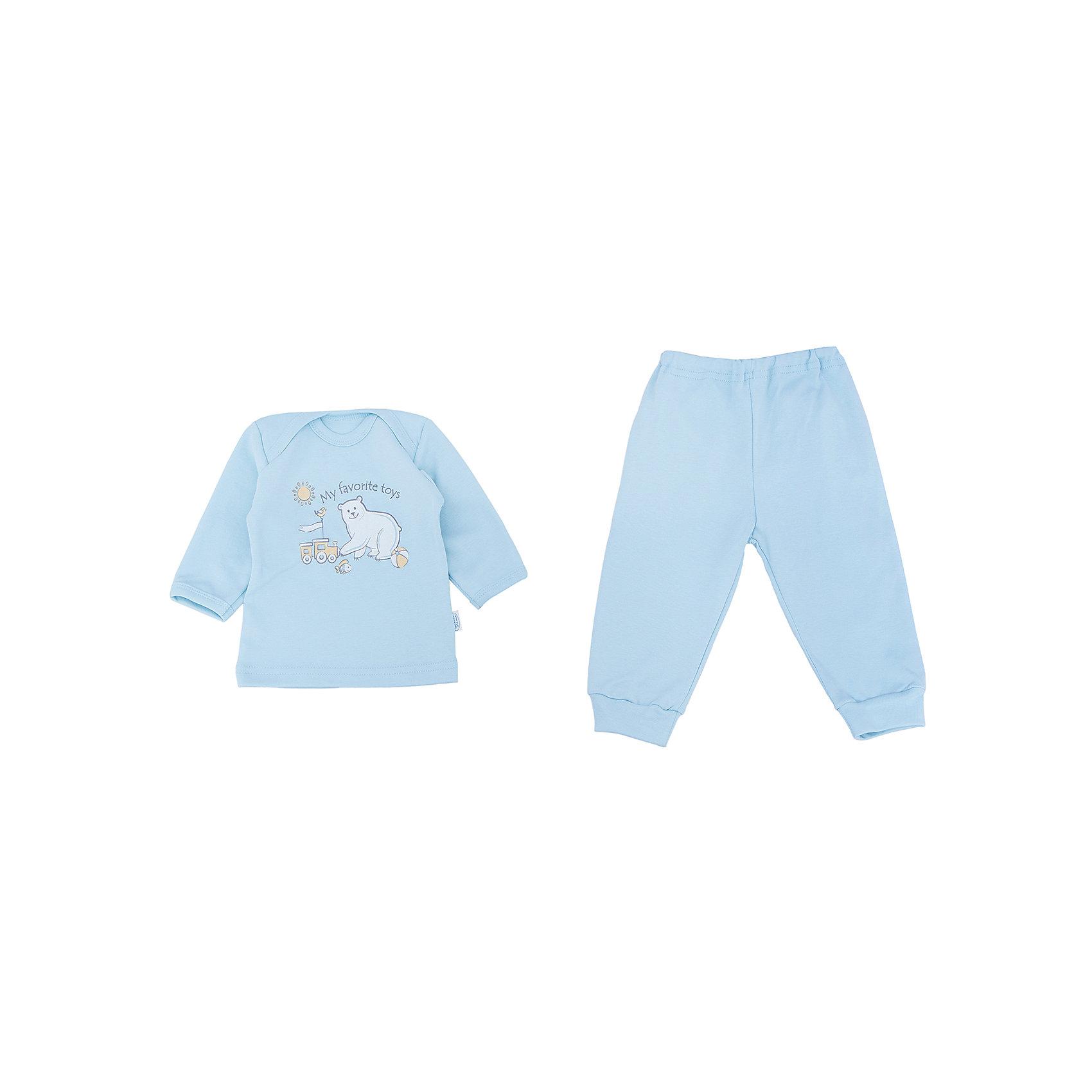 Пижама для мальчика Веселый малышПижамы<br>Очаровательная пижама от бренда Веселый малыш подарит вашему ребенку комфортный сон. Пижама изготовлена из 100% хлопка, приятного телу. Материал очень прочный и отлично сохраняет свои свойства после стирки. Ткань гипоаллергенная и не вызывает раздражения на чувствительной коже. Двойной ворот поможет вам с легкостью надеть пижаму на кроху. Штанишки с удобной резинкой и манжетами обеспечат отличную посадку. Верх украшен принтом с медвежонком. В этой пижаме малыш будет видеть самые сладкие сны!<br><br>Дополнительная информация:<br>Материал: интерлок-пенье<br>Состав: 100% хлопок<br>Цвет: голубой<br>Серия: Умка<br><br>Пижаму от бренда Веселый малыш можно купить в нашем интернет-магазине.<br><br>Ширина мм: 157<br>Глубина мм: 13<br>Высота мм: 119<br>Вес г: 200<br>Цвет: голубой<br>Возраст от месяцев: 6<br>Возраст до месяцев: 9<br>Пол: Мужской<br>Возраст: Детский<br>Размер: 74,68,80<br>SKU: 4810992