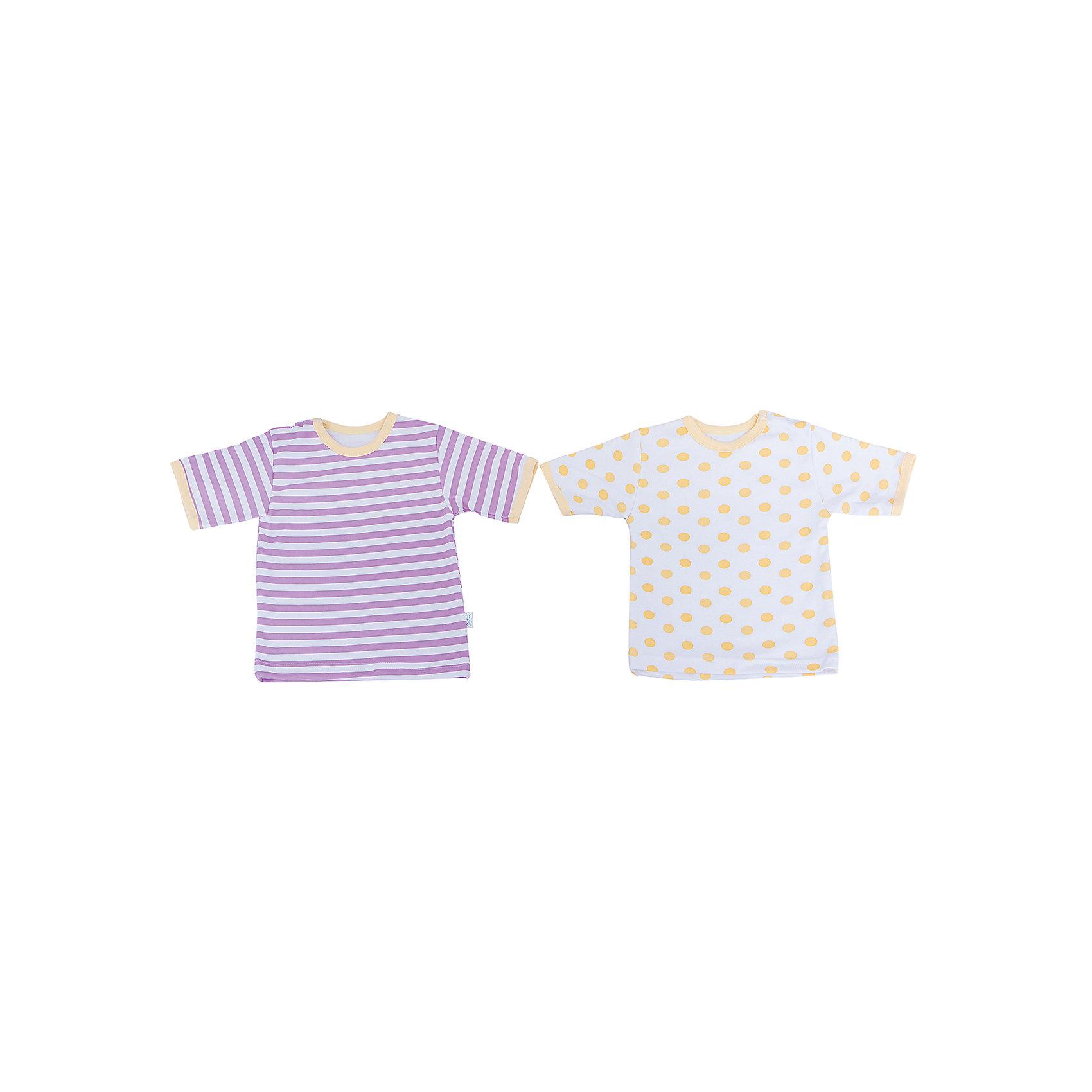 Футболка для девочки, 2 шт. Веселый малышФутболки, топы<br>Одежда для малышей должна быть удобной и качественной - это один из необходимых факторов для правильного развития и хорошего самочувствия ребенка.<br>Эти футболки отличаются высоким качеством швов, окантовкой краёв, что позволяет им хорошо фиксироваться на теле малыша, не сползать и не натирать. Застежки - удобные кнопки, которые не мешают ребенку. Материал - интерлок. Это плотная ткань из натурального хлопка, гладкая, приятная на ощупь, дышащая и гипоаллергенная. Расцветка изделий позволяет легко комбинировать их с различной одеждой. В наборе - две футболки разных цветов.<br><br>Дополнительная информация:<br><br>материал: 100% хлопок интерлок;<br>застежки: кнопки;<br>короткий рукав;<br>комплектация: 2 футболки.<br><br>Комплект футболок от бренда Веселый малыш можно купить в нашем магазине.<br><br>Ширина мм: 157<br>Глубина мм: 13<br>Высота мм: 119<br>Вес г: 200<br>Цвет: желтый<br>Возраст от месяцев: 3<br>Возраст до месяцев: 6<br>Пол: Женский<br>Возраст: Детский<br>Размер: 68,86,80,74<br>SKU: 4811010