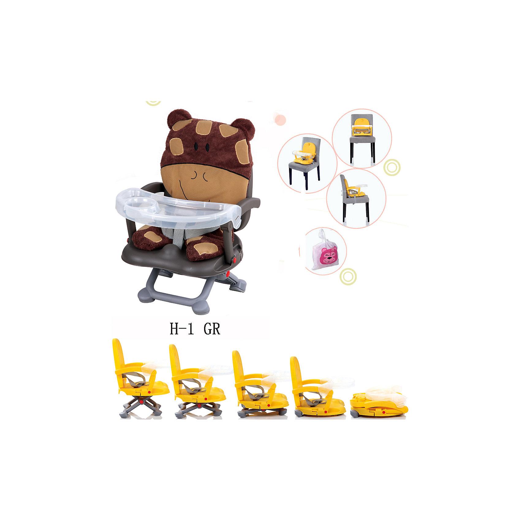 Стульчик для кормления H-1, Babies, GiraffeСтульчик для кормления H-1, Babies, Giraffe - легкая, простая и компактная модель для комфортного кормления малыша дома и в путешествии.<br>Компактный стульчик для кормления H-1 Giraffe от Babies (Бэйбис) идеален как для домашнего использования, так и для поездок. Он легко и быстро складывается, не занимает много места при хранении и перевозке. Мягкий чехол изготовлен в виде дружелюбного улыбающегося жирафа. Предусмотрена удобная съемная столешница с бортиками и подстаканником. Нескользящие ножки устойчивы на поверхности. Стульчик можно использовать как самостоятельный предмет мебели или как бустер, сложив ножки опоры и прикрепив к обычному стулу с помощью специальных ремней, входящих в комплект.<br><br>Дополнительная информация:<br><br>- Возраст детей: от полугода до 3 лет<br>- Максимальная нагрузка: 15 кг.<br>- Компактный, легкий<br>- Красивый дизайн<br>- Устойчивая конструкция<br>- Удобные ножки, регулируются по высоте в 3 положениях<br>- Просторное сиденье<br>- Оснащен съемным чехлом, который можно стирать<br>- Трехточечный ремень безопасности<br>- Предусмотрен мешок для транспортировки<br>- Материал: качественный пластик, текстиль<br>- Вес: 2 кг.<br>- Размер стульчика: 36 х 38 х 50 см.<br><br>Стульчик для кормления H-1, Babies, Giraffe можно купить в нашем интернет-магазине.<br><br>Ширина мм: 375<br>Глубина мм: 345<br>Высота мм: 770<br>Вес г: 1600<br>Возраст от месяцев: 6<br>Возраст до месяцев: 36<br>Пол: Унисекс<br>Возраст: Детский<br>SKU: 4811279