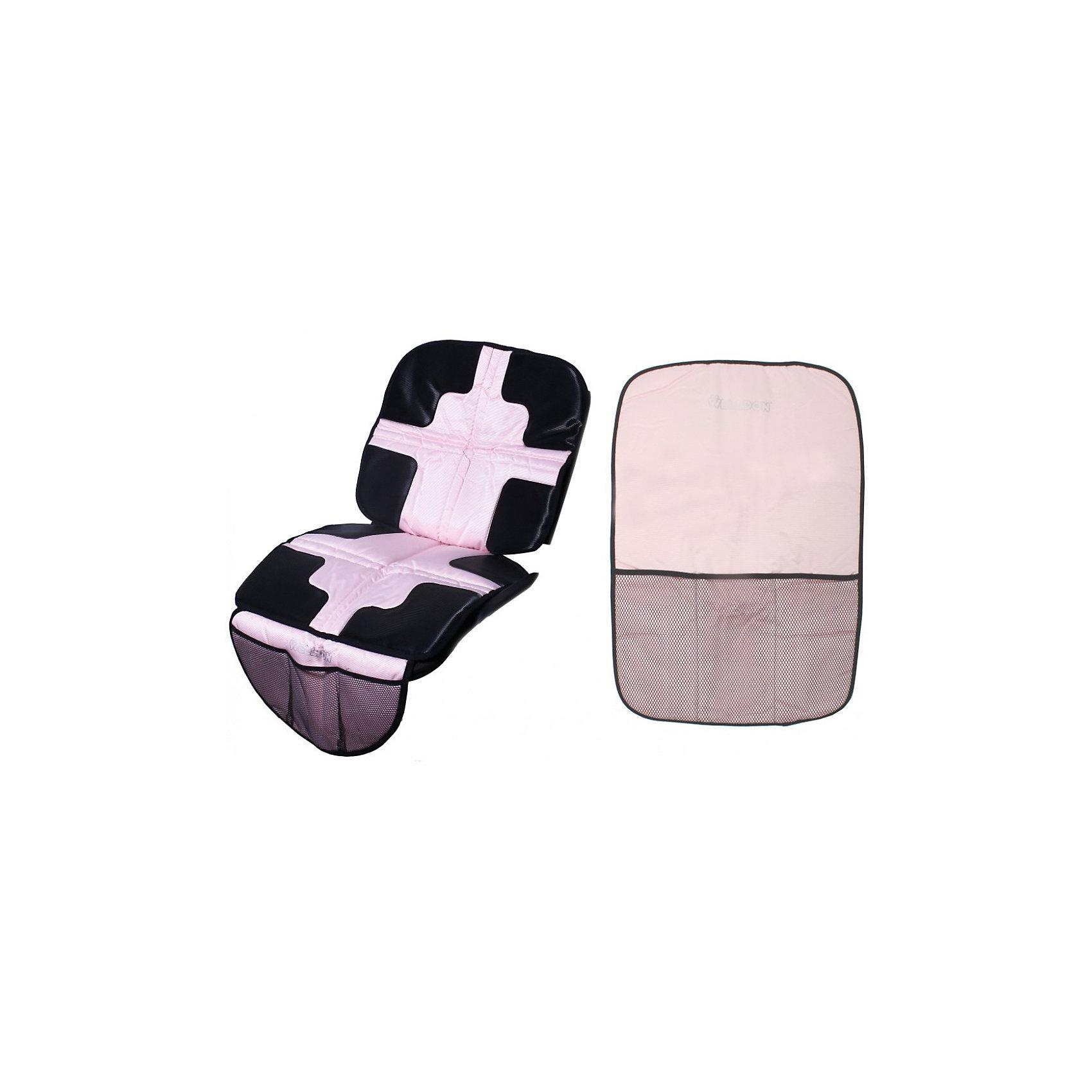 Набор коврик + органайзер, Welldon, розовыйНабор коврик + органайзер, Welldon, розовый - удобное решение для путешествий с малышом на автомобиле.<br>Набор коврик + органайзер от Welldon (Велдон) – это отличный вариант, сочетающий в себе лаконичный дизайн и эргономичность. Коврик крепится под детское автокресло, защищая сиденье автомобиля от загрязнений, вмятин, царапин и следов от детского автокресла. Чтобы прикрепить коврик, нужно протянуть крепеж между складками сиденья. Задняя поверхность коврика не дает ему скользить по сидению. В нижней части коврика есть три отделения для мелочей. Функциональный органайзер позволит поддерживать в машине порядок, может быть использован для хранения игрушек, документов и других детских принадлежностей. В нем есть множество тканевых и сетчатых карманов. При помощи специальных ремешков органайзер крепится на спинку переднего водительского или пассажирского сидения.<br><br>Дополнительная информация:<br><br>- Материал: износостойкий текстиль, ПВХ, полиэстер, сетка<br>- Цвет: розовый<br>- Размер органайзера: 60х42 см.<br>- Ширина коврика под автокресло: 47 см.<br>- Глубина по сиденью коврика под автокресло: 42 см.<br><br>Набор коврик + органайзер, Welldon, розовый можно купить в нашем интернет-магазине.<br><br>Ширина мм: 400<br>Глубина мм: 330<br>Высота мм: 600<br>Вес г: 3500<br>Возраст от месяцев: 6<br>Возраст до месяцев: 36<br>Пол: Унисекс<br>Возраст: Детский<br>SKU: 4811297