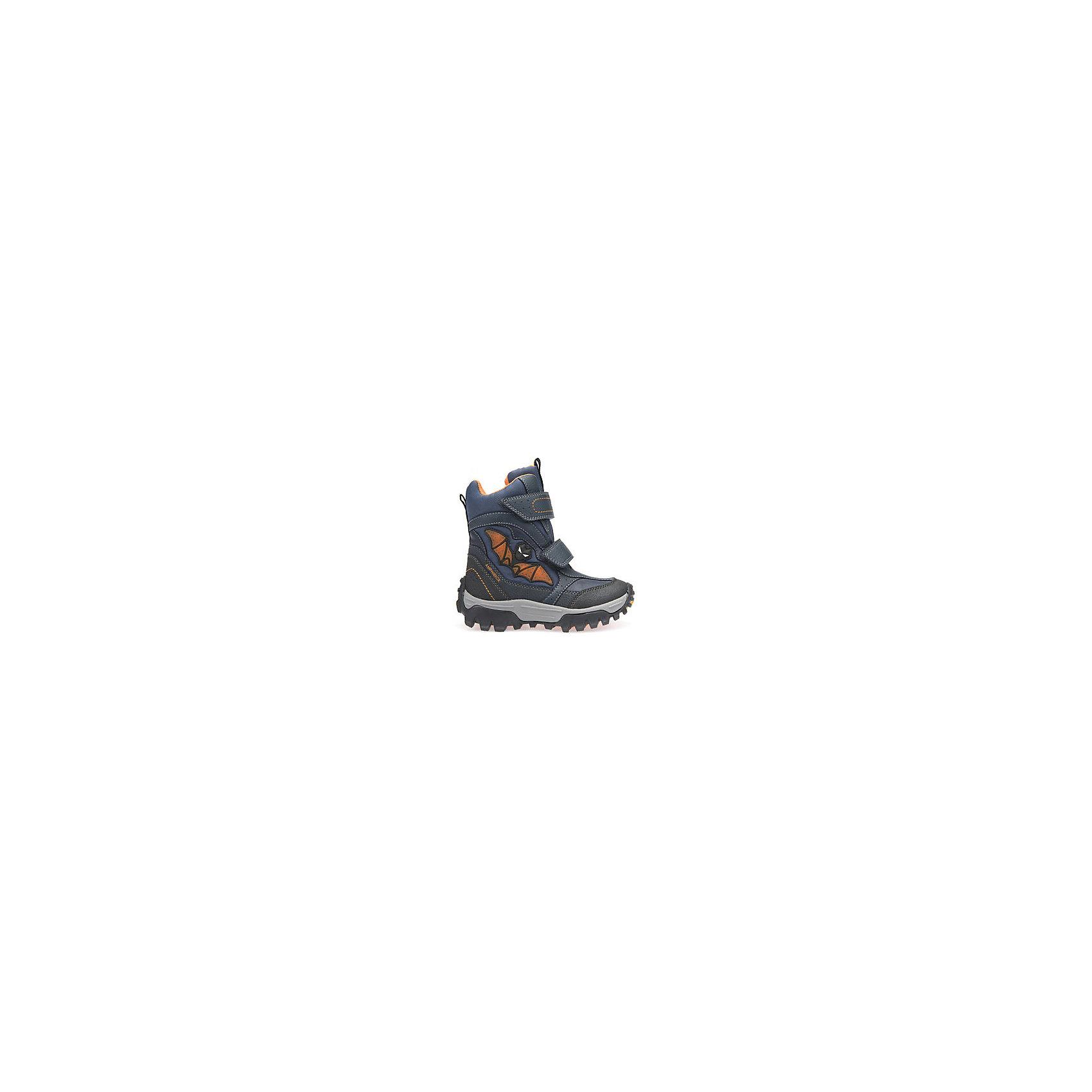 Ботинки со светодиодами для мальчика GeoxБотинки<br>Полусапожки для мальчика GEOX (ГЕОКС)<br>Полусапожки для мальчика от GEOX (ГЕОКС) выполнены из сочетания текстиля и искусственной кожи, декорированы изображением летучей мыши со встроенными светодиодами. Подкладка сшита из искусственного меха. Войлочная стелька с изоляционным алюминиевым слоем улучшается тепловое сопротивление в холодных условиях, повышая температуру внутри обуви. Влага не застаивается в обуви, благодаря чему создается идеальный микроклимат, который держит ноги теплыми и сухими, и позволяет им дышать естественно. Колодка соответствует анатомическим особенностям строения детской стопы. Качественная амортизация снижает нагрузку на суставы. Запатентованная гибкая перфорированная подошва со специальной микропористой мембраной обеспечивает естественное дыхание обуви, не пропускает воду, не скользит. Модель имеет усиленный мыс и пятку. Застежки-липучки облегчают снимание и надевание обуви и надежно фиксируют ее на ногах.<br><br>Дополнительная информация:<br><br>- Сезон: зима<br>- Цвет: синий<br>- Вид застежки: липучки<br>- Материал верха: искусственная кожа, текстиль<br>- Материал подкладки: искусственный мех<br>- Материал стельки: текстиль<br>- Материал подошвы: резина<br>- Высота голенища/задника: 12 см.<br>- Высота подошвы: 1 см.<br>- Высота каблука: 1 см.<br>- Технология Amphibiox<br>- Материалы и продукция прошли специальную проверку T?V S?D, на отсутствие веществ, опасных для здоровья покупателей<br><br>Полусапожки для мальчика GEOX (ГЕОКС) можно купить в нашем интернет-магазине.<br><br>Ширина мм: 257<br>Глубина мм: 180<br>Высота мм: 130<br>Вес г: 420<br>Цвет: синий<br>Возраст от месяцев: 36<br>Возраст до месяцев: 48<br>Пол: Мужской<br>Возраст: Детский<br>Размер: 27,30,30,29,28,26,28,31<br>SKU: 4812183