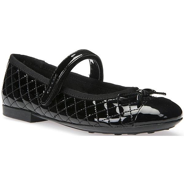 Туфли для девочки GEOXОбувь<br>Туфли для девочки GEOX (ГЕОКС)<br>Туфли для девочки от GEOX (ГЕОКС) представляют собой балетки с небольшим каблучком и круглым носиком. На носке имеется декоративный бант. Модель выполнена из материалов высокого качества: верхняя часть из искусственной лаковой кожи, внутренняя часть из текстиля, стелька из натуральной кожи, подошва из резины. Обувь имеет анатомически правильную форму, низкий каблук и гнущуюся подошву, которые способствуют правильному формированию стопы и служат профилактикой плоскостопия. Застежка выполнена на липучке.<br><br>Дополнительная информация:<br><br>- Цвет: черный<br>- Материал верха: искусственная лаковая кожа<br>- Внутренний материал: текстиль<br>- Материал стельки: натуральная кожа<br>- Материал подошвы: резина<br>- Тип застежки: липучка<br>- Детали обуви: бант, лакированные, стеганые<br>- Материалы и продукция прошли специальную проверку T?V S?D, на отсутствие веществ, опасных для здоровья покупателей<br><br>Туфли для девочки GEOX (ГЕОКС) можно купить в нашем интернет-магазине.<br><br>Ширина мм: 227<br>Глубина мм: 145<br>Высота мм: 124<br>Вес г: 325<br>Цвет: черный<br>Возраст от месяцев: 60<br>Возраст до месяцев: 72<br>Пол: Женский<br>Возраст: Детский<br>Размер: 29,32,33,35,36,37,38,28,34,30,31,27<br>SKU: 4812243