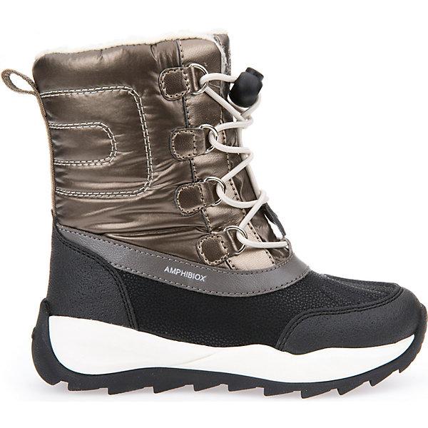 Сноубутсы для девочки GeoxСапоги<br>Полусапожки для девочки GEOX (ГЕОКС)<br>Полусапожки для девочки от GEOX (ГЕОКС) идеально подходят для холодной погоды. Они выполнены из сочетания искусственной кожи и текстиля, имеют подкладку из искусственного меха, текстильную стельку. Тип застежки: шнуровка. Влага не застаивается в обуви, благодаря чему создается идеальный микроклимат, который держит ноги теплыми и сухими, и позволяет им дышать естественно. Колодка соответствует анатомическим особенностям строения детской стопы. Качественная амортизация снижает нагрузку на суставы. Запатентованная гибкая перфорированная подошва со специальной микропористой мембраной обеспечивает естественное дыхание обуви, не пропускает воду, не скользит. Модель имеет усиленный мыс и пятку. <br><br>Дополнительная информация:<br><br>- Сезон: зима<br>- Цвет: золотистый, черный<br>- Материал верха: искусственная кожа, текстиль<br>- Внутренний материал: искусственный мех<br>- Материал стельки: текстиль<br>- Материал подошвы: резина<br>- Тип застежки: шнуровка<br>- Высота голенища/задника: 14 см.<br>- Детали обуви: контрастная отстрочка<br>- Высота платформы: 1 см.<br>- Высота подошвы: 3 см.<br>- Технология Amphibiox<br>- Материалы и продукция прошли специальную проверку T?V S?D, на отсутствие веществ, опасных для здоровья покупателей<br><br>Полусапожки для девочки GEOX (ГЕОКС) можно купить в нашем интернет-магазине.<br>Ширина мм: 257; Глубина мм: 180; Высота мм: 130; Вес г: 420; Цвет: золотой; Возраст от месяцев: 108; Возраст до месяцев: 120; Пол: Женский; Возраст: Детский; Размер: 33,37,27,31,34,32,30,29,28,33,32,31,30,29,27,26,28,35,36; SKU: 4812476;