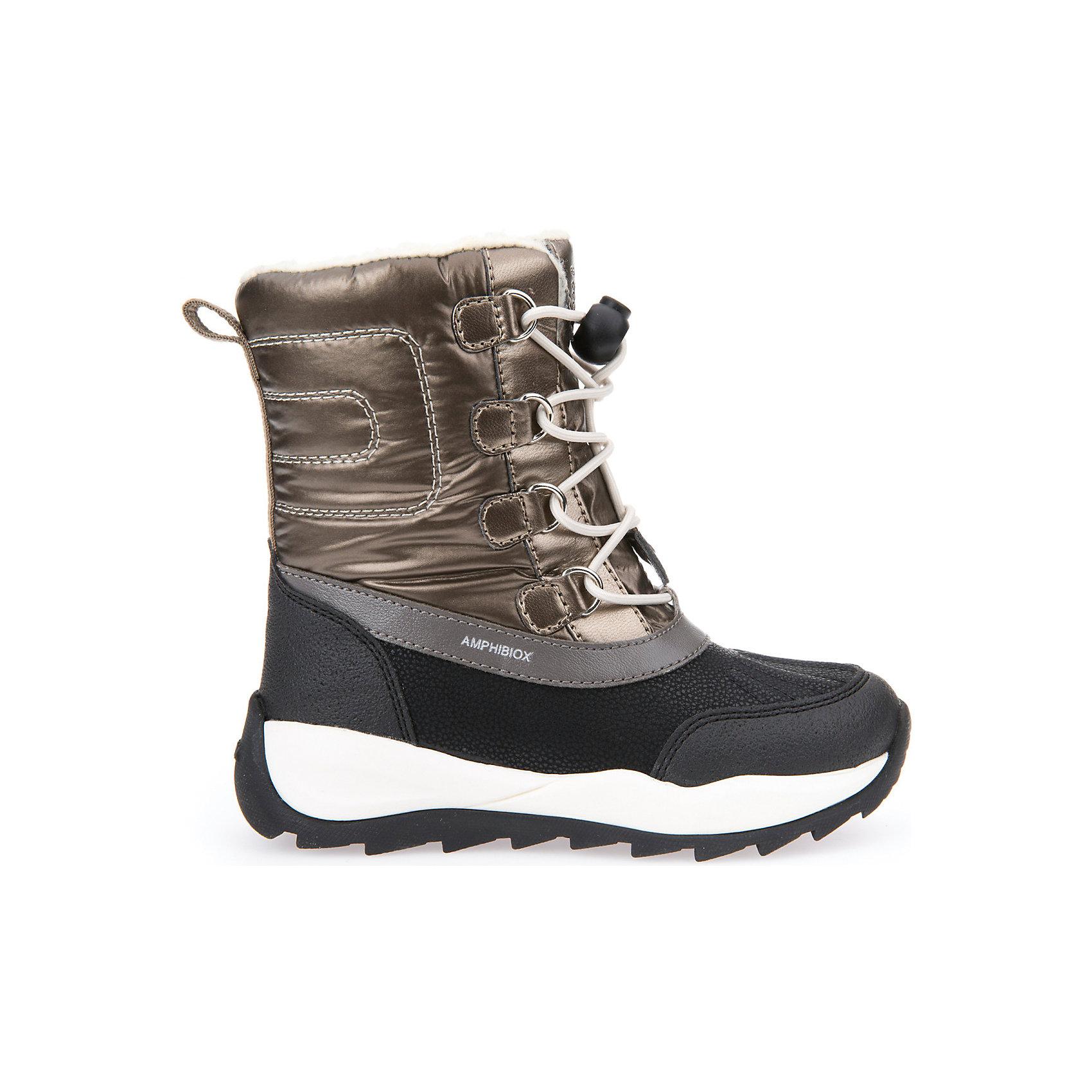 Сноубутсы для девочки GeoxСапоги<br>Полусапожки для девочки GEOX (ГЕОКС)<br>Полусапожки для девочки от GEOX (ГЕОКС) идеально подходят для холодной погоды. Они выполнены из сочетания искусственной кожи и текстиля, имеют подкладку из искусственного меха, текстильную стельку. Тип застежки: шнуровка. Влага не застаивается в обуви, благодаря чему создается идеальный микроклимат, который держит ноги теплыми и сухими, и позволяет им дышать естественно. Колодка соответствует анатомическим особенностям строения детской стопы. Качественная амортизация снижает нагрузку на суставы. Запатентованная гибкая перфорированная подошва со специальной микропористой мембраной обеспечивает естественное дыхание обуви, не пропускает воду, не скользит. Модель имеет усиленный мыс и пятку. <br><br>Дополнительная информация:<br><br>- Сезон: зима<br>- Цвет: золотистый, черный<br>- Материал верха: искусственная кожа, текстиль<br>- Внутренний материал: искусственный мех<br>- Материал стельки: текстиль<br>- Материал подошвы: резина<br>- Тип застежки: шнуровка<br>- Высота голенища/задника: 14 см.<br>- Детали обуви: контрастная отстрочка<br>- Высота платформы: 1 см.<br>- Высота подошвы: 3 см.<br>- Технология Amphibiox<br>- Материалы и продукция прошли специальную проверку T?V S?D, на отсутствие веществ, опасных для здоровья покупателей<br><br>Полусапожки для девочки GEOX (ГЕОКС) можно купить в нашем интернет-магазине.<br><br>Ширина мм: 257<br>Глубина мм: 180<br>Высота мм: 130<br>Вес г: 420<br>Цвет: золотой<br>Возраст от месяцев: 36<br>Возраст до месяцев: 48<br>Пол: Женский<br>Возраст: Детский<br>Размер: 27,37,31,33,34,32,30,29,28,33,32,31,30,29,27,26,28,35,36<br>SKU: 4812476