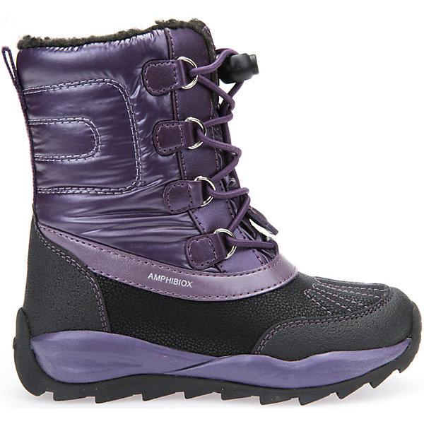 Сноубутсы для девочки GeoxСапоги<br>Полусапожки для девочки GEOX (ГЕОКС)<br>Полусапожки для девочки от GEOX (ГЕОКС) идеально подходят для холодной погоды. Они выполнены из сочетания искусственной кожи и текстиля, имеют подкладку из искусственного меха, текстильную стельку. Тип застежки: шнуровка. Влага не застаивается в обуви, благодаря чему создается идеальный микроклимат, который держит ноги теплыми и сухими, и позволяет им дышать естественно. Колодка соответствует анатомическим особенностям строения детской стопы. Качественная амортизация снижает нагрузку на суставы. Запатентованная гибкая перфорированная подошва со специальной микропористой мембраной обеспечивает естественное дыхание обуви, не пропускает воду, не скользит. Модель имеет усиленный мыс и пятку. <br><br>Дополнительная информация:<br><br>- Сезон: зима<br>- Цвет: фиолетовый, черный<br>- Материал верха: искусственная кожа, текстиль<br>- Внутренний материал: искусственный мех<br>- Материал стельки: текстиль<br>- Материал подошвы: резина<br>- Тип застежки: шнуровка<br>- Высота голенища/задника: 14 см.<br>- Детали обуви: контрастная отстрочка<br>- Высота платформы: 1 см.<br>- Высота подошвы: 3 см.<br>- Технология Amphibiox<br>- Материалы и продукция прошли специальную проверку T?V S?D, на отсутствие веществ, опасных для здоровья покупателей<br><br>Полусапожки для девочки GEOX (ГЕОКС) можно купить в нашем интернет-магазине.<br>Ширина мм: 257; Глубина мм: 180; Высота мм: 130; Вес г: 420; Цвет: лиловый; Возраст от месяцев: 24; Возраст до месяцев: 36; Пол: Женский; Возраст: Детский; Размер: 26,28,34,33,32,31,29,27; SKU: 4812493;