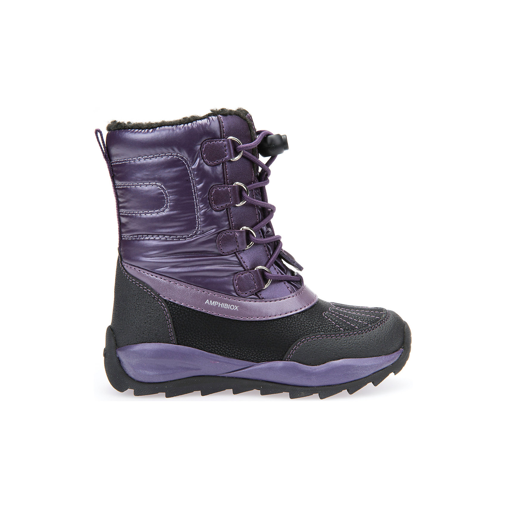 Сноубутсы для девочки GeoxСапоги<br>Полусапожки для девочки GEOX (ГЕОКС)<br>Полусапожки для девочки от GEOX (ГЕОКС) идеально подходят для холодной погоды. Они выполнены из сочетания искусственной кожи и текстиля, имеют подкладку из искусственного меха, текстильную стельку. Тип застежки: шнуровка. Влага не застаивается в обуви, благодаря чему создается идеальный микроклимат, который держит ноги теплыми и сухими, и позволяет им дышать естественно. Колодка соответствует анатомическим особенностям строения детской стопы. Качественная амортизация снижает нагрузку на суставы. Запатентованная гибкая перфорированная подошва со специальной микропористой мембраной обеспечивает естественное дыхание обуви, не пропускает воду, не скользит. Модель имеет усиленный мыс и пятку. <br><br>Дополнительная информация:<br><br>- Сезон: зима<br>- Цвет: фиолетовый, черный<br>- Материал верха: искусственная кожа, текстиль<br>- Внутренний материал: искусственный мех<br>- Материал стельки: текстиль<br>- Материал подошвы: резина<br>- Тип застежки: шнуровка<br>- Высота голенища/задника: 14 см.<br>- Детали обуви: контрастная отстрочка<br>- Высота платформы: 1 см.<br>- Высота подошвы: 3 см.<br>- Технология Amphibiox<br>- Материалы и продукция прошли специальную проверку T?V S?D, на отсутствие веществ, опасных для здоровья покупателей<br><br>Полусапожки для девочки GEOX (ГЕОКС) можно купить в нашем интернет-магазине.<br><br>Ширина мм: 257<br>Глубина мм: 180<br>Высота мм: 130<br>Вес г: 420<br>Цвет: фиолетовый<br>Возраст от месяцев: 120<br>Возраст до месяцев: 132<br>Пол: Женский<br>Возраст: Детский<br>Размер: 34,28,27,29,26,30,31,32,33<br>SKU: 4812493
