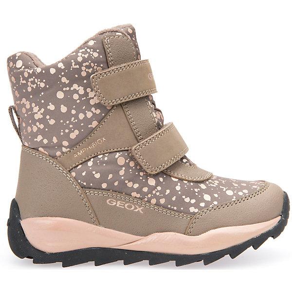 Ботинки для девочки GeoxБотинки<br>Полусапожки для девочки GEOX (ГЕОКС)<br>Полусапожки для девочки от GEOX (ГЕОКС) идеально подходят для холодной погоды. Они выполнены из сочетания искусственной кожи и текстиля, имеют плотную мягкую подкладку из искусственного меха, которая согревает чувствительные детские ноги. Термоизоляционная «дышащая» стелька с алюминиевым слоем улучшается тепловое сопротивление в холодных условиях, повышая температуру внутри обуви. Влага не застаивается в обуви, благодаря чему создается идеальный микроклимат, который держит ноги теплыми и сухими, и позволяет им дышать естественно. Колодка соответствует анатомическим особенностям строения детской стопы. Качественная амортизация снижает нагрузку на суставы. Запатентованная гибкая перфорированная подошва со специальной микропористой мембраной обеспечивает естественное дыхание обуви, не пропускает воду, не скользит. Модель имеет усиленный мыс и пятку. Застежки-липучки облегчают снимание и надевание обуви и надежно фиксируют ее на ногах.<br><br>Дополнительная информация:<br><br>- Сезон: зима<br>- Цвет: бежевый<br>- Материал верха: искусственная кожа, текстиль<br>- Внутренний материал: искусственный мех<br>- Материал стельки: текстиль<br>- Материал подошвы: резина<br>- Тип застежки: липучки<br>- Высота голенища/задника: 12 см.<br>- Технология Amphibiox<br>- Материалы и продукция прошли специальную проверку T?V S?D, на отсутствие веществ, опасных для здоровья покупателей<br><br>Полусапожки для девочки GEOX (ГЕОКС) можно купить в нашем интернет-магазине.<br><br>Ширина мм: 257<br>Глубина мм: 180<br>Высота мм: 130<br>Вес г: 420<br>Цвет: бежевый<br>Возраст от месяцев: 72<br>Возраст до месяцев: 84<br>Пол: Женский<br>Возраст: Детский<br>Размер: 30,27,28,31,26,29<br>SKU: 4812503
