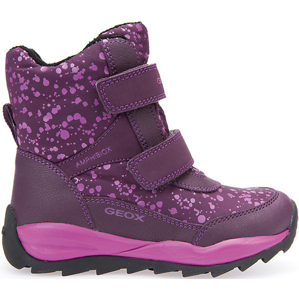 Ботинки для девочки GeoxБотинки<br>Полусапожки для девочки GEOX (ГЕОКС)<br>Полусапожки для девочки от GEOX (ГЕОКС) идеально подходят для холодной погоды. Они выполнены из сочетания искусственной кожи и текстиля, имеют плотную мягкую подкладку из искусственного меха, которая согревает чувствительные детские ноги. Термоизоляционная «дышащая» стелька с алюминиевым слоем улучшается тепловое сопротивление в холодных условиях, повышая температуру внутри обуви. Влага не застаивается в обуви, благодаря чему создается идеальный микроклимат, который держит ноги теплыми и сухими, и позволяет им дышать естественно. Колодка соответствует анатомическим особенностям строения детской стопы. Качественная амортизация снижает нагрузку на суставы. Запатентованная гибкая перфорированная подошва со специальной микропористой мембраной обеспечивает естественное дыхание обуви, не пропускает воду, не скользит. Модель имеет усиленный мыс и пятку. Застежки-липучки облегчают снимание и надевание обуви и надежно фиксируют ее на ногах.<br><br>Дополнительная информация:<br><br>- Сезон: зима<br>- Цвет: фиолетовый<br>- Материал верха: искусственная кожа, текстиль<br>- Внутренний материал: искусственный мех<br>- Материал стельки: текстиль<br>- Материал подошвы: резина<br>- Тип застежки: липучки<br>- Высота голенища/задника: 12 см.<br>- Технология Amphibiox<br>- Материалы и продукция прошли специальную проверку T?V S?D, на отсутствие веществ, опасных для здоровья покупателей<br><br>Полусапожки для девочки GEOX (ГЕОКС) можно купить в нашем интернет-магазине.<br>Ширина мм: 257; Глубина мм: 180; Высота мм: 130; Вес г: 420; Цвет: лиловый; Возраст от месяцев: 24; Возраст до месяцев: 36; Пол: Женский; Возраст: Детский; Размер: 26,29,30,30,31,28,27,28; SKU: 4812510;