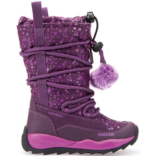 Сапоги для девочки GEOXСапоги<br>Сапоги для девочки GEOX (ГЕОКС)<br>Сапоги для девочки от GEOX (ГЕОКС) идеально подходят для холодной погоды. Они выполнены из сочетания искусственной кожи и текстиля, имеют текстильную стельку и плотную мягкую подкладку из искусственного меха, которые согревают чувствительные детские ноги. Влага не застаивается в обуви, благодаря чему создается идеальный микроклимат, который держит ноги теплыми и сухими, и позволяет им дышать естественно. Колодка соответствует анатомическим особенностям строения детской стопы. Качественная амортизация снижает нагрузку на суставы. Запатентованная гибкая перфорированная подошва со специальной микропористой мембраной обеспечивает естественное дыхание обуви, не пропускает воду, не скользит. Тип застежки: шнуровка. Обхват голенища регулируется шнурком с утяжкой, благодаря которому внутрь не попадает снег. Модель имеет усиленный мыс и пятку.<br><br>Дополнительная информация:<br><br>- Сезон: зима<br>- Цвет: фиолетовый<br>- Материал верха: искусственная кожа, текстиль<br>- Внутренний материал: искусственный мех<br>- Материал стельки: текстиль<br>- Материал подошвы: резина<br>- Тип застежки: шнуровка<br>- Высота голенища/задника: 22 см.<br>- Высота платформы: 1 см.<br>- Высота подошвы: 3 см.<br>- Технология Amphibiox<br>- Материалы и продукция прошли специальную проверку T?V S?D, на отсутствие веществ, опасных для здоровья покупателей<br><br>Сапоги для девочки GEOX (ГЕОКС) можно купить в нашем интернет-магазине.<br><br>Ширина мм: 257<br>Глубина мм: 180<br>Высота мм: 130<br>Вес г: 420<br>Цвет: лиловый<br>Возраст от месяцев: 24<br>Возраст до месяцев: 36<br>Пол: Женский<br>Возраст: Детский<br>Размер: 26,30,27,28,28,29,30,31<br>SKU: 4812528