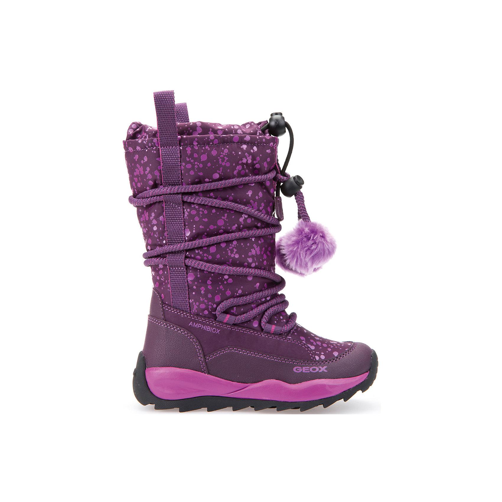 Сапоги для девочки GEOXСапоги для девочки GEOX (ГЕОКС)<br>Сапоги для девочки от GEOX (ГЕОКС) идеально подходят для холодной погоды. Они выполнены из сочетания искусственной кожи и текстиля, имеют текстильную стельку и плотную мягкую подкладку из искусственного меха, которые согревают чувствительные детские ноги. Влага не застаивается в обуви, благодаря чему создается идеальный микроклимат, который держит ноги теплыми и сухими, и позволяет им дышать естественно. Колодка соответствует анатомическим особенностям строения детской стопы. Качественная амортизация снижает нагрузку на суставы. Запатентованная гибкая перфорированная подошва со специальной микропористой мембраной обеспечивает естественное дыхание обуви, не пропускает воду, не скользит. Тип застежки: шнуровка. Обхват голенища регулируется шнурком с утяжкой, благодаря которому внутрь не попадает снег. Модель имеет усиленный мыс и пятку.<br><br>Дополнительная информация:<br><br>- Сезон: зима<br>- Цвет: фиолетовый<br>- Материал верха: искусственная кожа, текстиль<br>- Внутренний материал: искусственный мех<br>- Материал стельки: текстиль<br>- Материал подошвы: резина<br>- Тип застежки: шнуровка<br>- Высота голенища/задника: 22 см.<br>- Высота платформы: 1 см.<br>- Высота подошвы: 3 см.<br>- Технология Amphibiox<br>- Материалы и продукция прошли специальную проверку T?V S?D, на отсутствие веществ, опасных для здоровья покупателей<br><br>Сапоги для девочки GEOX (ГЕОКС) можно купить в нашем интернет-магазине.<br><br>Ширина мм: 257<br>Глубина мм: 180<br>Высота мм: 130<br>Вес г: 420<br>Цвет: фиолетовый<br>Возраст от месяцев: 60<br>Возраст до месяцев: 72<br>Пол: Женский<br>Возраст: Детский<br>Размер: 30,31,30,26,27,28,29,28<br>SKU: 4812528