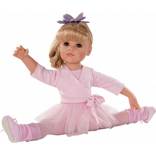 Кукла Ханна Балерина, 50см, блондинка, G?tzКуклы<br>Очаровательная кукла Ханна-балерина станет замечательным подарком для девочки. С красивой куклой, которая так похожа на настоящую девочку, можно проводить много времени вместе, придумывая увлекательные сюжеты для игр. Кукла Gotz с виниловым подвижным телом подходит для активных игр дома и на улице. Куклу можно переодевать и делать различные прически. Ханна одета в прекрасный воздушный розовый наряд, как настоящая ученица балетной школы. На ней прелестный кардиган с завязками, колготки, гетры, и, конечно же, балетные туфли и юбочка! На голове у нее любимая заколка в виде цветка. А чтобы куколка смогла переодеться после тренировки, у нее с собой есть сменный комплект летней одежды! В комплекте: кукла Ханна в одежде и обуви, сменный комплект летней одежды, инструкция. Куклу можно мыть, для поддержания одежды в опрятном виде рекомендуется щадящая машинная стирка при температуре 30 градусов.<br>Ширина мм: 527; Глубина мм: 384; Высота мм: 140; Вес г: 1200; Возраст от месяцев: 36; Возраст до месяцев: 144; Пол: Женский; Возраст: Детский; SKU: 4813059;