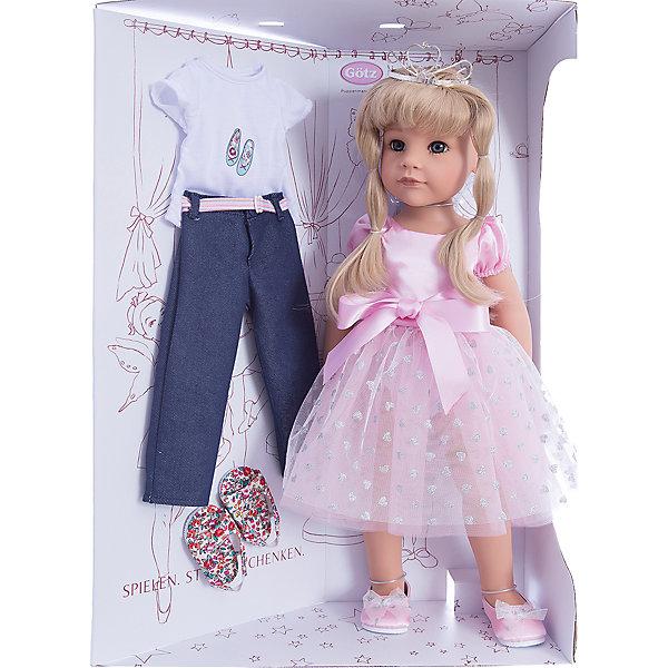 Кукла Ханна Принцесса, 50 см, G?tzКуклы<br>С необычной куклой,которая так похожа на настоящую девочку, можно проводить много времени вместе, придумывая увлекательные сюжеты для игр. Кукла Gotz с виниловым подвижным телом подходит для активных игр дома и на улице. Куклу можно переодевать и делать различные прически. Кукла продается в ярко-розовом пышном платье и изящных балетках. На голове изумительная диадема. Куколка может переодеваться в свободную одежду: джинсы и футболку. В наборе: кукла, дополнительный комплект одежды. Куклу можно мыть, для поддержания одежды в опрятном виде рекомендуется щадящая машинная стирка при температуре 30градусов.<br>Ширина мм: 527; Глубина мм: 384; Высота мм: 140; Вес г: 1200; Возраст от месяцев: 36; Возраст до месяцев: 144; Пол: Женский; Возраст: Детский; SKU: 4813061;