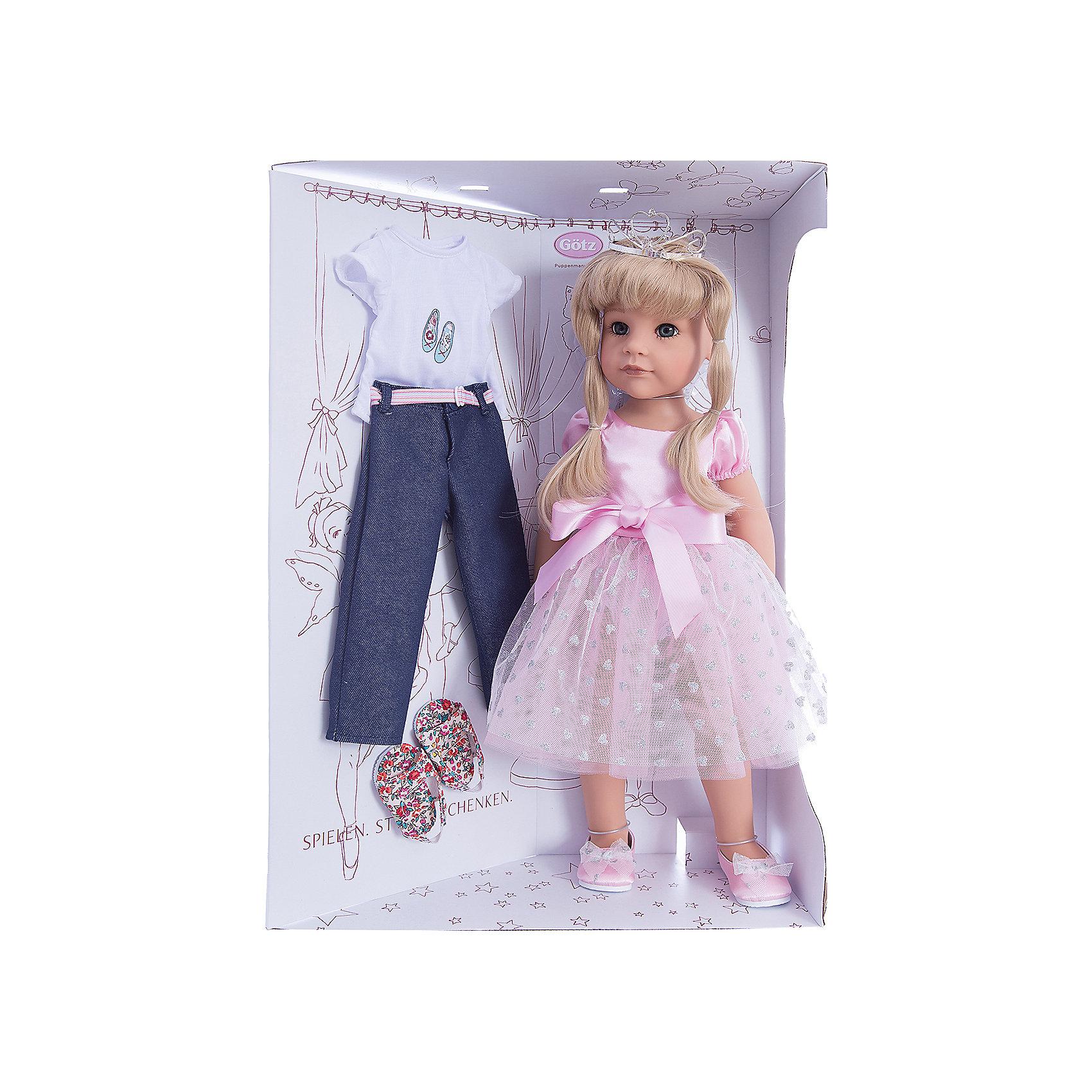 Кукла Ханна Принцесса, 50 см, G?tzБренды кукол<br>С необычной куклой,которая так похожа на настоящую девочку, можно проводить много времени вместе, придумывая увлекательные сюжеты для игр. Кукла Gotz с виниловым подвижным телом подходит для активных игр дома и на улице. Куклу можно переодевать и делать различные прически. Кукла продается в ярко-розовом пышном платье и изящных балетках. На голове изумительная диадема. Куколка может переодеваться в свободную одежду: джинсы и футболку. В наборе: кукла, дополнительный комплект одежды. Куклу можно мыть, для поддержания одежды в опрятном виде рекомендуется щадящая машинная стирка при температуре 30градусов.<br><br>Ширина мм: 527<br>Глубина мм: 384<br>Высота мм: 140<br>Вес г: 1200<br>Возраст от месяцев: 36<br>Возраст до месяцев: 144<br>Пол: Женский<br>Возраст: Детский<br>SKU: 4813061