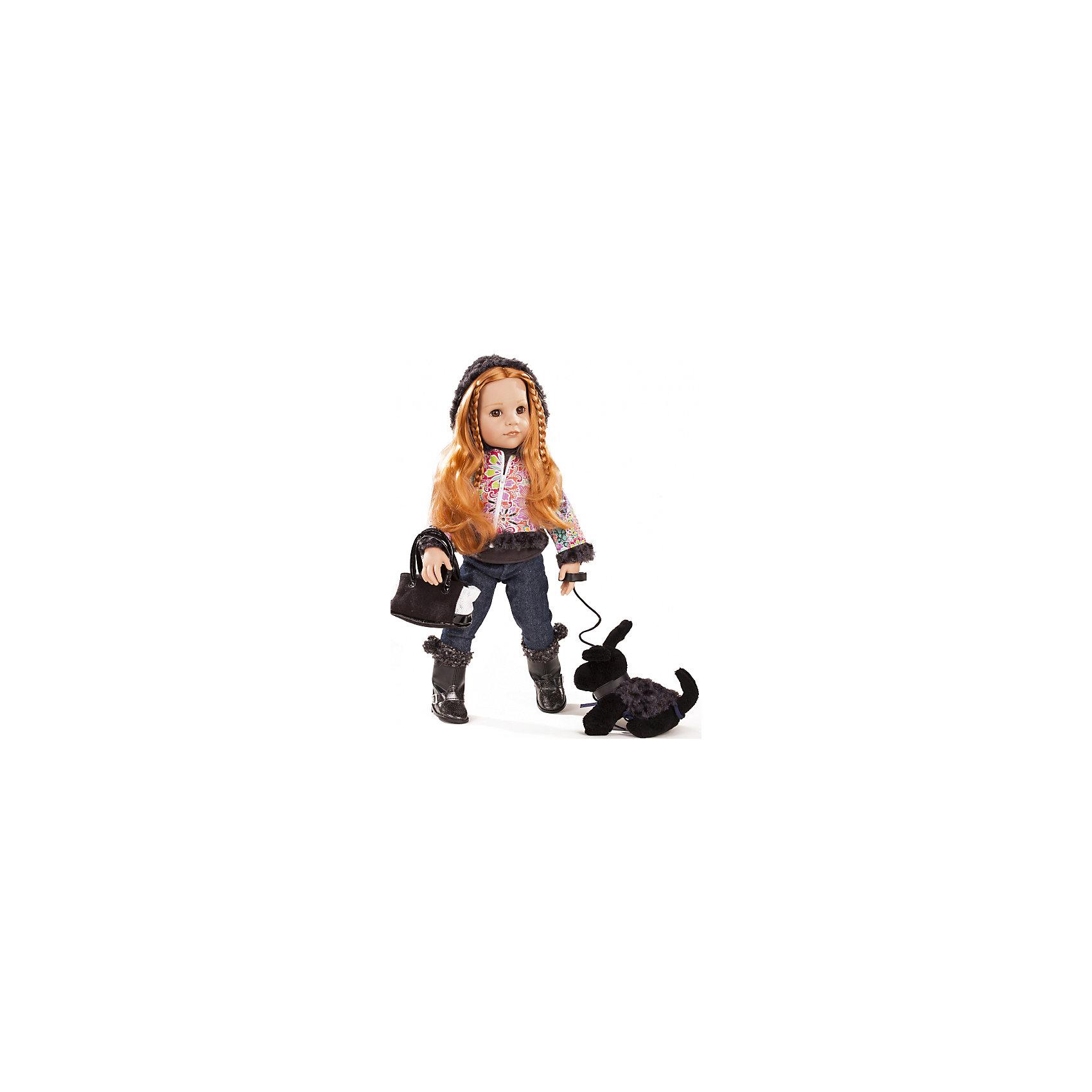 Кукла Ханна с собачкой, 50 см, G?tzОчаровательная кукла Ханна с собачкой станет замечательным подарком для девочки. С красивой куклой, которая так похожа на настоящую девочку, можно проводить много времени вместе, придумывая увлекательные сюжеты для игр. Кукла Gotz с виниловым подвижным телом подходит для активных игр дома и на улице. Куклу можно переодевать и делать различные прически. Ханна обожает гулять со своей маленькой черной собачкой в парке. К тому же, это позволяет ей выйти на улицу в своем новом стильном наряде! Ее рыжие волосы блестят в лучах солнца, делая ее еще красивее. Куколка одета в теплый комплект одежды, на ней яркая курточка, джинсы и сапожки, в руках сумочка. В комплекте: кукла Ханна в одежде и обуви, сумочка, игрушечная черная собачка на поводке. Куклу можно мыть, для поддержания одежды в опрятном виде рекомендуется щадящая машинная стирка при температуре 30 градусов.<br><br>Ширина мм: 527<br>Глубина мм: 384<br>Высота мм: 140<br>Вес г: 1800<br>Возраст от месяцев: 36<br>Возраст до месяцев: 144<br>Пол: Женский<br>Возраст: Детский<br>SKU: 4813063