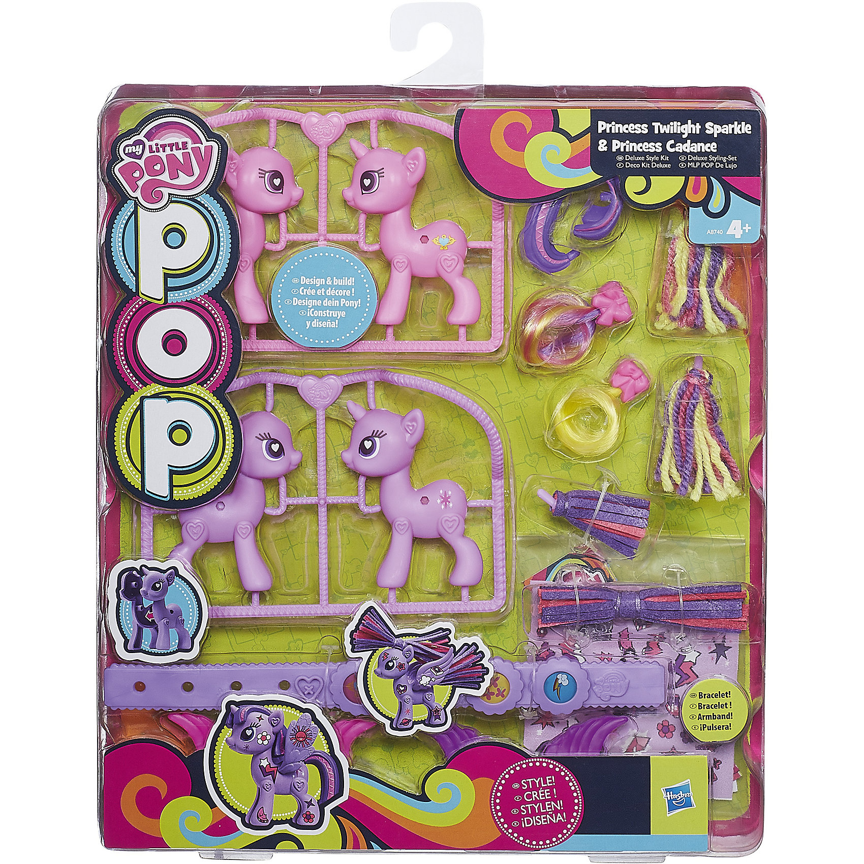 Набор POP Пони Делюкс: Принцесса Твайлайт Спаркл и Принцесса Каденс, My little PonyИгрушки<br>Конструкторы POP позволяют не только собрать 2 фигурки героинь My Little Pony, но и украсить и декорировать их по собственному желанию. В наборе к каждой пони прилагаются разные виды хвостов и грив с различной текстурой, крылышки, а также набор наклеек. В наборе девочка найдет еще и браслет для себя, украшенный основной символикой персонажей мультфильма. Фигурки собираются без клея или иных приспособлений, все вставные части (крылья, хвост, грива) легко меняются местами. Меняйте настроение и внешний вид любимых пони каждый день!<br><br>Ширина мм: 30<br>Глубина мм: 240<br>Высота мм: 280<br>Вес г: 250<br>Возраст от месяцев: 36<br>Возраст до месяцев: 84<br>Пол: Женский<br>Возраст: Детский<br>SKU: 4816115