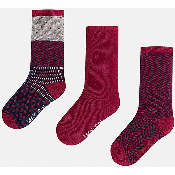 Купить Комплект:3 пары носков для мальчика Mayoral, Китай, бордовый, 1, 2, Мужской