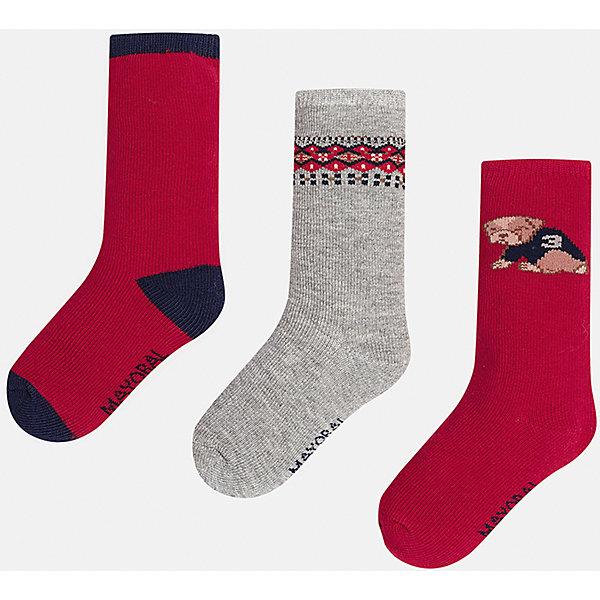 Купить Комплект:3 пары носков для мальчика Mayoral, Китай, бордовый, 2, 1, Мужской