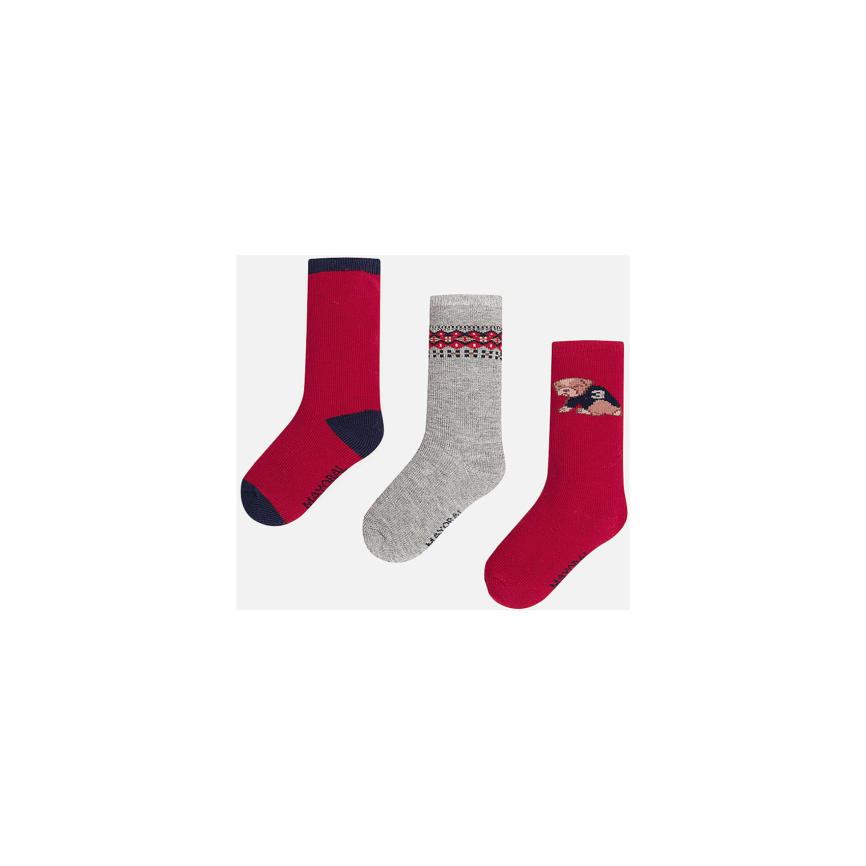 Комплект:3 пары носков для мальчика MayoralНабор из 3 пар носков для мальчиков от известного испанского бренда Mayoral. В комплекте носки разной расцветки: красный с темно-синими пяткой, носком и резинкой, серый с красно-синим узором сверху, красный с рисунком собачка. Носки сделаны из специальных дышащих материалов, чтобы ноги ребенка не потели.<br>Дополнительная информация:<br>-разная расцветка<br>-состав: 77% хлопок, 20% полиамид, 3% эластан<br>Комплект носков Mayoral можно приобрести в нашем интернет-магазине.<br><br>Ширина мм: 87<br>Глубина мм: 10<br>Высота мм: 105<br>Вес г: 115<br>Цвет: бордовый<br>Возраст от месяцев: 9<br>Возраст до месяцев: 12<br>Пол: Мужской<br>Возраст: Детский<br>Размер: 1,2<br>SKU: 4820032