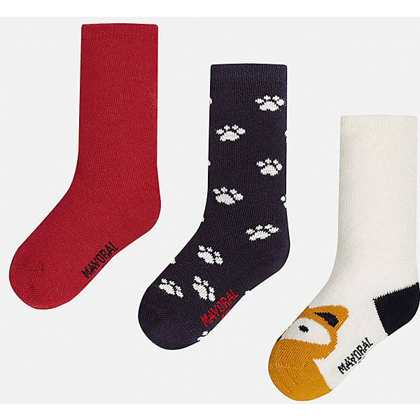 Носки для мальчика, 3 парыНоски<br>Набор из 3 пар носков для мальчиков от известного испанского бренда Mayoral. В комплекте носки разной расцветки: красный, черный с рисунком белые лапки, белый с черной пяткой и оранжевым носком с рисунком в виде зверюшки. Носки сделаны из специальных дышащих материалов, чтобы ноги ребенка не потели.<br>Дополнительная информация:<br>-разная расцветка<br>-состав: 72% хлопок, 25% полиамид, 3% эластан<br>Комплект носков Mayoral можно приобрести в нашем интернет-магазине.<br>Ширина мм: 87; Глубина мм: 10; Высота мм: 105; Вес г: 115; Цвет: разноцветный; Возраст от месяцев: 18; Возраст до месяцев: 24; Пол: Мужской; Возраст: Детский; Размер: 2,1; SKU: 4820047;