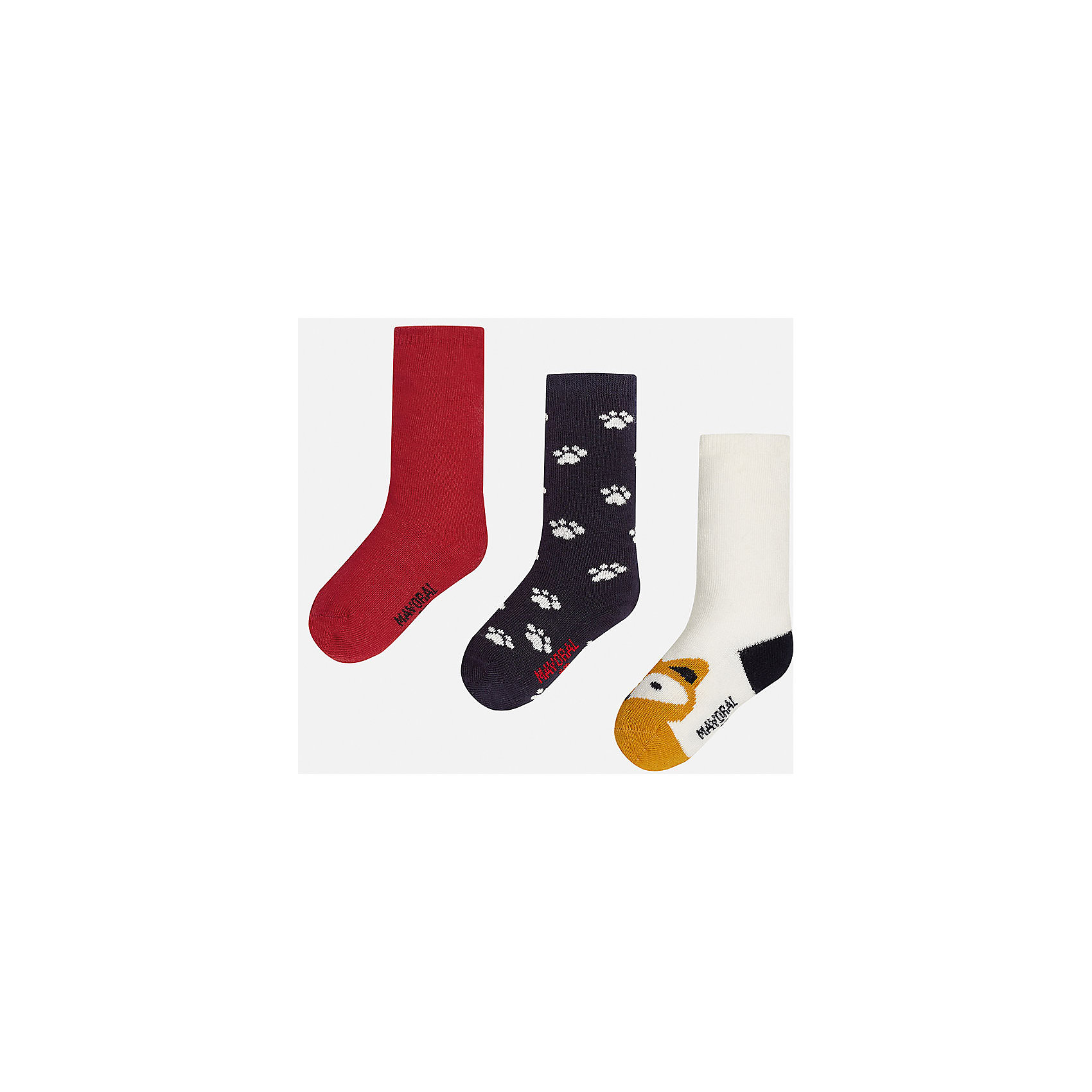 Носки для мальчика, 3 парыНоски<br>Набор из 3 пар носков для мальчиков от известного испанского бренда Mayoral. В комплекте носки разной расцветки: красный, черный с рисунком белые лапки, белый с черной пяткой и оранжевым носком с рисунком в виде зверюшки. Носки сделаны из специальных дышащих материалов, чтобы ноги ребенка не потели.<br>Дополнительная информация:<br>-разная расцветка<br>-состав: 72% хлопок, 25% полиамид, 3% эластан<br>Комплект носков Mayoral можно приобрести в нашем интернет-магазине.<br><br>Ширина мм: 87<br>Глубина мм: 10<br>Высота мм: 105<br>Вес г: 115<br>Цвет: разноцветный<br>Возраст от месяцев: 9<br>Возраст до месяцев: 12<br>Пол: Мужской<br>Возраст: Детский<br>Размер: 1,2<br>SKU: 4820047
