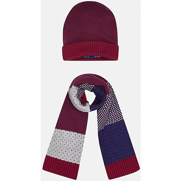 Комплект: шапка-шарф для мальчика MayoralШапочки<br>Комплект из шапки и шарфа для мальчика от известного испанского бренда Mayoral. Стильные шарф и шапка выполнены из качественных материалов и украшены оригинальным узором. Прекрасно подойдут юному джентльмену.<br>Дополнительная информация:<br>-цвет шапки: красный с синим; цвет шарфа: красный  с различными узорами серого и синего цвета<br>-состав: 60% хлопок, 30% полиамид, 10% шерсть<br>Комплект из шапки и шарфа Mayoral можно приобрести в нашем интернет-магазине<br><br>Ширина мм: 89<br>Глубина мм: 117<br>Высота мм: 44<br>Вес г: 155<br>Цвет: бордовый<br>Возраст от месяцев: 12<br>Возраст до месяцев: 18<br>Пол: Мужской<br>Возраст: Детский<br>Размер: 48<br>SKU: 4820052