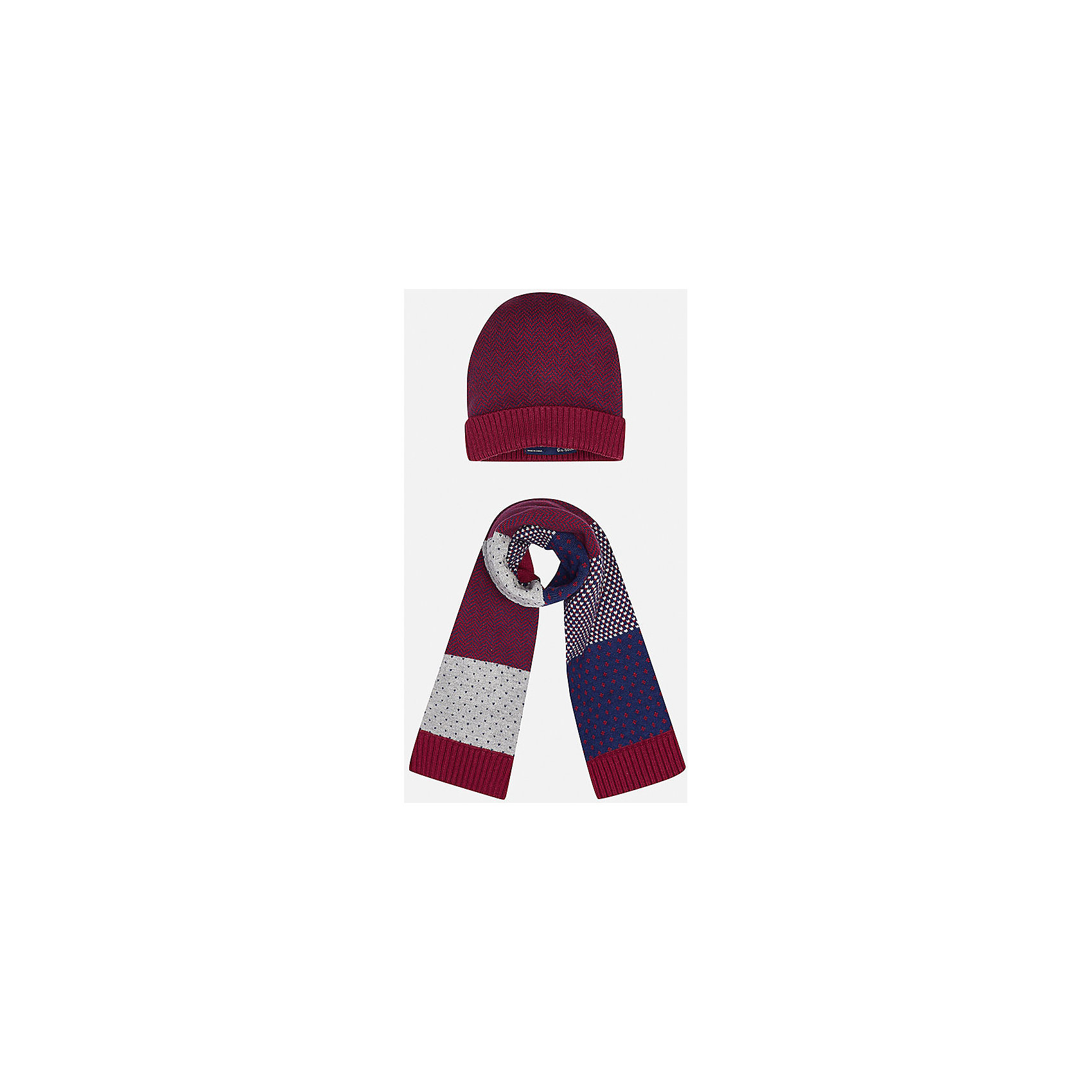Комплект: шапка-шарф для мальчика MayoralКомплект из шапки и шарфа для мальчика от известного испанского бренда Mayoral. Стильные шарф и шапка выполнены из качественных материалов и украшены оригинальным узором. Прекрасно подойдут юному джентльмену.<br>Дополнительная информация:<br>-цвет шапки: красный с синим; цвет шарфа: красный  с различными узорами серого и синего цвета<br>-состав: 60% хлопок, 30% полиамид, 10% шерсть<br>Комплект из шапки и шарфа Mayoral можно приобрести в нашем интернет-магазине<br><br>Ширина мм: 89<br>Глубина мм: 117<br>Высота мм: 44<br>Вес г: 155<br>Цвет: бордовый<br>Возраст от месяцев: 12<br>Возраст до месяцев: 18<br>Пол: Мужской<br>Возраст: Детский<br>Размер: 48<br>SKU: 4820052
