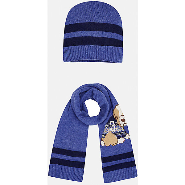 Комплект: шапка-шарф для мальчика MayoralШапочки<br>Комплект из шапки и шарфа для мальчика от известного испанского бренда Mayoral. Изготовлены из качественных дышащих материалов. Шарф украшен приятным рисунком с собачкой.<br>Дополнительная информация:<br>-цвет: фиолетовый с темно-синими полосками; рисунок собачка на шарфе<br>-резиночка на шапке<br>-состав: 60% хлопок, 30% полиамид, 10% шерсть<br>Комплект из шапки и шарфа Mayoral вы можете приобрести  в нашем интернет-магазине.<br>Ширина мм: 89; Глубина мм: 117; Высота мм: 44; Вес г: 155; Цвет: лиловый; Возраст от месяцев: 6; Возраст до месяцев: 9; Пол: Мужской; Возраст: Детский; Размер: 46,48; SKU: 4820057;