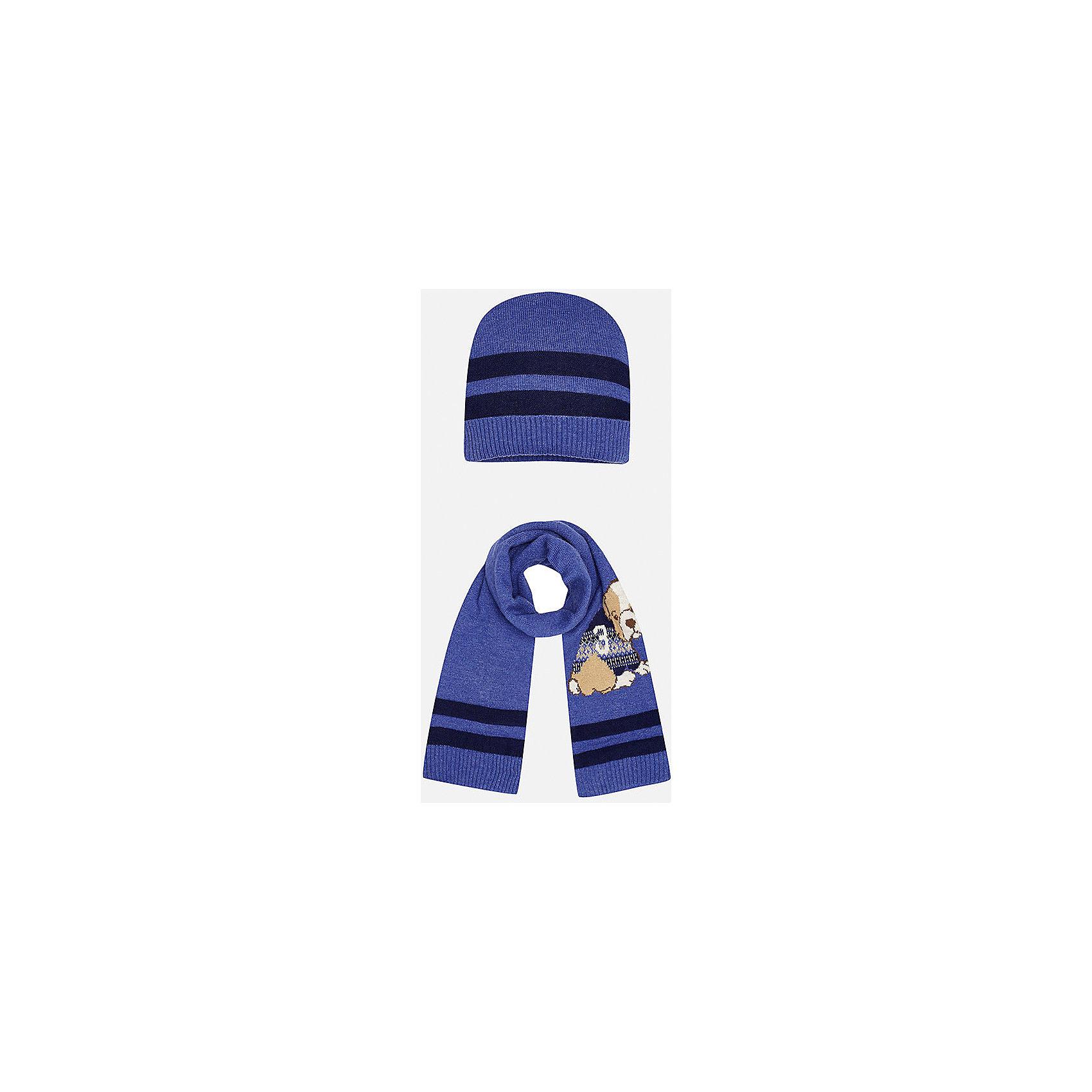 Комплект: шапка-шарф для мальчика MayoralШарфы, платки<br>Комплект из шапки и шарфа для мальчика от известного испанского бренда Mayoral. Изготовлены из качественных дышащих материалов. Шарф украшен приятным рисунком с собачкой.<br>Дополнительная информация:<br>-цвет: фиолетовый с темно-синими полосками; рисунок собачка на шарфе<br>-резиночка на шапке<br>-состав: 60% хлопок, 30% полиамид, 10% шерсть<br>Комплект из шапки и шарфа Mayoral вы можете приобрести  в нашем интернет-магазине.<br><br>Ширина мм: 89<br>Глубина мм: 117<br>Высота мм: 44<br>Вес г: 155<br>Цвет: лиловый<br>Возраст от месяцев: 12<br>Возраст до месяцев: 18<br>Пол: Мужской<br>Возраст: Детский<br>Размер: 48,46<br>SKU: 4820057