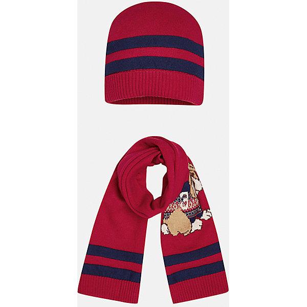 Комплект: шапка-шарф для мальчика MayoralШарфы, платки<br>Комплект из шапки и шарфа для мальчика от известного испанского бренда Mayoral. Изготовлены из качественных дышащих материалов. Шарф украшен приятным рисунком с собачкой.<br>Дополнительная информация:<br>-цвет: красный с темно-синими полосками; рисунок собачка на шарфе<br>-резиночка на шапке<br>-состав: 60% хлопок, 30% полиамид, 10% шерсть<br>Комплект из шапки и шарфа Mayoral вы можете приобрести  в нашем интернет-магазине.<br>Ширина мм: 89; Глубина мм: 117; Высота мм: 44; Вес г: 155; Цвет: бордовый; Возраст от месяцев: 6; Возраст до месяцев: 9; Пол: Мужской; Возраст: Детский; Размер: 46,48; SKU: 4820060;