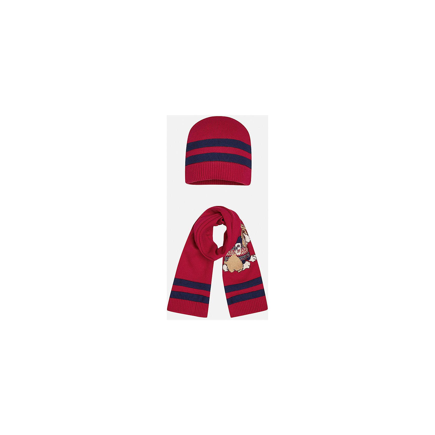 Комплект: шапка-шарф для мальчика MayoralКомплект из шапки и шарфа для мальчика от известного испанского бренда Mayoral. Изготовлены из качественных дышащих материалов. Шарф украшен приятным рисунком с собачкой.<br>Дополнительная информация:<br>-цвет: красный с темно-синими полосками; рисунок собачка на шарфе<br>-резиночка на шапке<br>-состав: 60% хлопок, 30% полиамид, 10% шерсть<br>Комплект из шапки и шарфа Mayoral вы можете приобрести  в нашем интернет-магазине.<br><br>Ширина мм: 89<br>Глубина мм: 117<br>Высота мм: 44<br>Вес г: 155<br>Цвет: бордовый<br>Возраст от месяцев: 12<br>Возраст до месяцев: 18<br>Пол: Мужской<br>Возраст: Детский<br>Размер: 48,46<br>SKU: 4820060