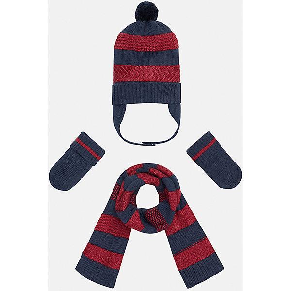 Комплект: шапка-шарф для мальчика MayoralШапочки<br>Комплект из шапки, шарфа и варежек для мальчика от популярного испанского бренда Mayoral(майорал). Изделия сделаны из качественных материалов, хорошо сохраняющих тепло. Имеет расцветку в полоску, у шапки есть помпон и завязки. В этом комплекте ребенку будет тепло и комфортно!<br><br>Дополнительная информация:<br>Состав. Шапка: 45% акрил, 30% вискоза, 15% полиамид, 10% шерсть. Шарф: 45% акрил, 30% вискоза, 15% полиамид, 10% шерсть. Варежки: 45% акрил, 30% вискоза, 15% полиамид, 10% шерсть<br>Цвет: темно-синий/красный<br>Комплект из шапки, шарфа и варежек Mayoral(Майорал) можно приобрести в нашем интернет-магазине.<br><br>Ширина мм: 89<br>Глубина мм: 117<br>Высота мм: 44<br>Вес г: 155<br>Цвет: бордовый<br>Возраст от месяцев: 6<br>Возраст до месяцев: 9<br>Пол: Мужской<br>Возраст: Детский<br>Размер: 46,48<br>SKU: 4820063