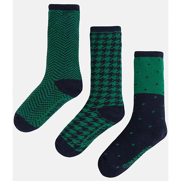 Носки для мальчика, 3 парыНоски<br>Комплект из 3 пар носков для мальчика от известного испанского бренда Mayoral. Каждая пара имеет разную расцветку и сделана из качественных дышащих материалов.<br>Дополнительная информация:<br>-цвет: зеленый, черный<br>Состав: 72% хлопок, 25% полиамид, 3% эластан<br>Комплект носков Mayoral можно приобрести в нашем интернет-магазине.<br>Ширина мм: 87; Глубина мм: 10; Высота мм: 105; Вес г: 115; Цвет: зеленый; Возраст от месяцев: 60; Возраст до месяцев: 72; Пол: Мужской; Возраст: Детский; Размер: 6,4,8; SKU: 4820113;
