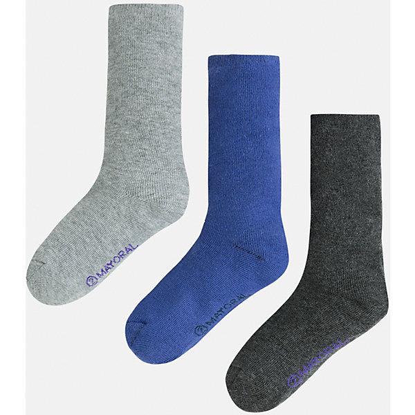 Носки для мальчика, 3 парыНоски<br>Комплект из 3 пар носков для мальчика от известного испанского бренда Mayoral. Изготовлены из качественных и дышащим материалов. Однотонные носки - отличный вариант на каждый день!<br>Дополнительная информация:<br>-цвет: серый; синий; темно-серый<br>-состав: 75% хлопок, 23% полиэстер, 2% эластан<br>Комплект носков Mayoral можно приобрести в нашем интернет-магазине.<br>Ширина мм: 87; Глубина мм: 10; Высота мм: 105; Вес г: 115; Цвет: синий; Возраст от месяцев: 84; Возраст до месяцев: 96; Пол: Мужской; Возраст: Детский; Размер: 8,4,6; SKU: 4820145;