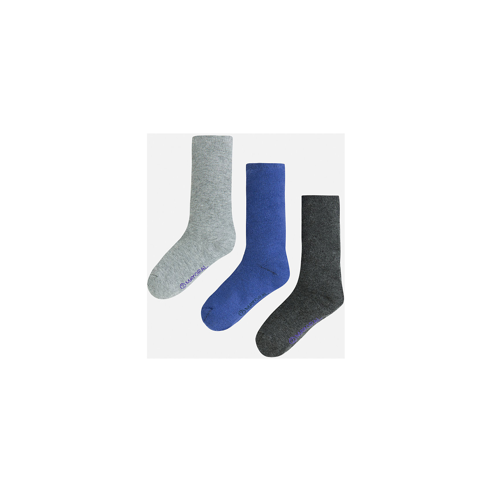 Носки для мальчика, 3 парыНоски<br>Комплект из 3 пар носков для мальчика от известного испанского бренда Mayoral. Изготовлены из качественных и дышащим материалов. Однотонные носки - отличный вариант на каждый день!<br>Дополнительная информация:<br>-цвет: серый; синий; темно-серый<br>-состав: 75% хлопок, 23% полиэстер, 2% эластан<br>Комплект носков Mayoral можно приобрести в нашем интернет-магазине.<br><br>Ширина мм: 87<br>Глубина мм: 10<br>Высота мм: 105<br>Вес г: 115<br>Цвет: синий<br>Возраст от месяцев: 60<br>Возраст до месяцев: 72<br>Пол: Мужской<br>Возраст: Детский<br>Размер: 6,4,8<br>SKU: 4820145