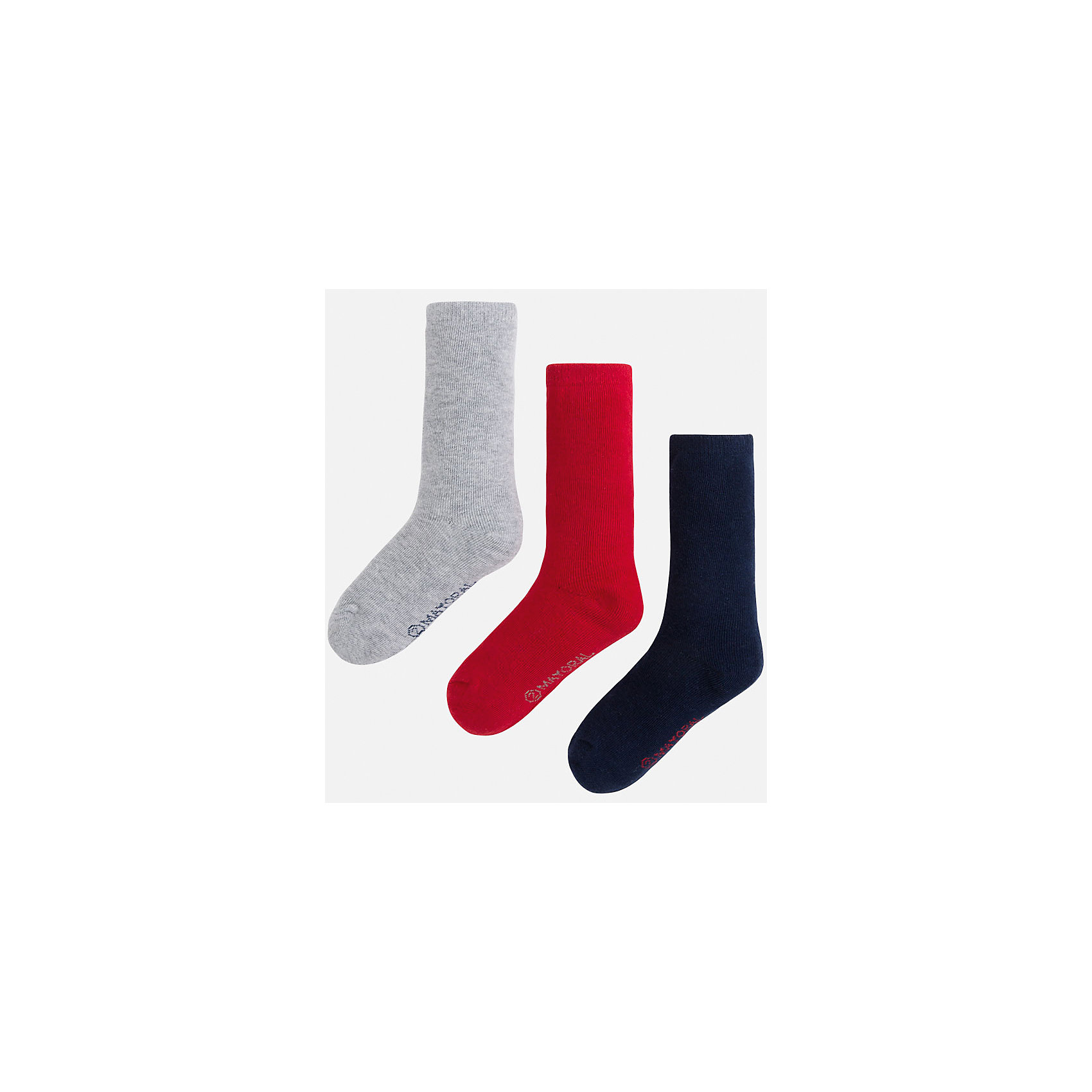 Носки для мальчика, 3 парыКомплект из 3 пар носков для мальчика от известного испанского бренда Mayoral. Изготовлены из качественных и дышащим материалов. Однотонные носки - отличный вариант на каждый день!<br>Дополнительная информация:<br>-цвет: серый; красный; темно-синий<br>-состав: 75% хлопок, 23% полиэстер, 2% эластан<br>Комплект носков Mayoral можно приобрести в нашем интернет-магазине.<br><br>Ширина мм: 87<br>Глубина мм: 10<br>Высота мм: 105<br>Вес г: 115<br>Цвет: бордовый<br>Возраст от месяцев: 60<br>Возраст до месяцев: 72<br>Пол: Мужской<br>Возраст: Детский<br>Размер: 6,4,8<br>SKU: 4820153