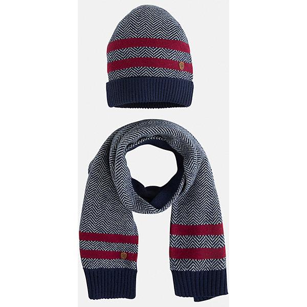 Комплект: шапка-шарф для мальчика MayoralГоловные уборы<br>Комплект из шарфа и шапки для мальчика от известного испанского бренда Mayoral. Комплект изготовлен из дышащих материалов. Шапка имеет надежную резинку в основании. Дизайн с полосками и маленькой эмблемой марки отлично подойдет для юных модников.<br>Дополнительная информация:<br>-цвет: синий с красными полосками<br>-состав: 60% хлопок, 30% полиамид, 10% шерсть<br>Комплект из шапки и шарфа Mayoral можно приобрести в нашем интернет-магазине<br><br>Ширина мм: 89<br>Глубина мм: 117<br>Высота мм: 44<br>Вес г: 155<br>Цвет: синий<br>Возраст от месяцев: 24<br>Возраст до месяцев: 36<br>Пол: Мужской<br>Возраст: Детский<br>Размер: 50,54,52<br>SKU: 4820177