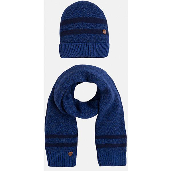 Комплект: шапка-шарф для мальчика MayoralДемисезонные<br>Комплект из шарфа и шапки для мальчика от известного испанского бренда Mayoral. Комплект изготовлен из дышащих материалов. Шапка имеет надежную резинку в основании. Дизайн с полосками и маленькой эмблемой марки отлично подойдет для юных модников.<br>Дополнительная информация:<br>-цвет: синий с темно-синими полосками<br>-состав: 60% хлопок, 30% полиамид, 10% шерсть<br>Комплект из шапки и шарфа Mayoral можно приобрести в нашем интернет-магазине<br><br>Ширина мм: 89<br>Глубина мм: 117<br>Высота мм: 44<br>Вес г: 155<br>Цвет: синий<br>Возраст от месяцев: 24<br>Возраст до месяцев: 36<br>Пол: Мужской<br>Возраст: Детский<br>Размер: 50,52,54<br>SKU: 4820181