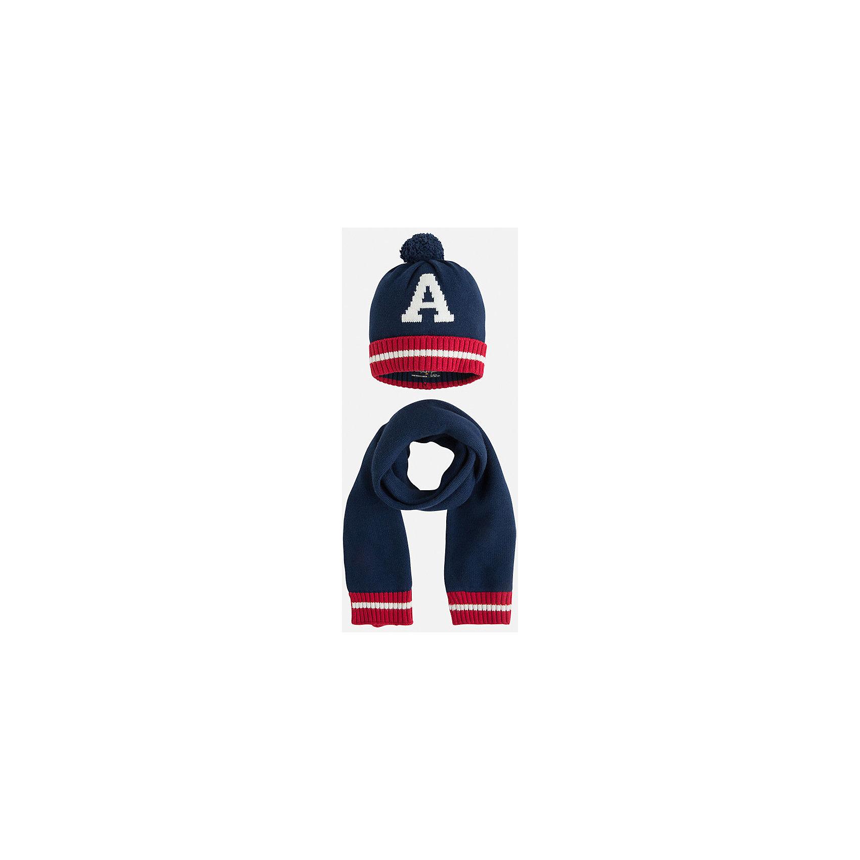Комплект: шапка-шарф для мальчика MayoralКомплект из шапки и шарфа от известного испанского бренда Mayoral. Комплект изготовлен из качественных водоотталкивающих материалов. Шарф и шапка дополнены полосками красного и белого цвета. На шапке рисунок в виде буквы А и помпон.<br>Дополнительная информация:<br>-цвет: темно-синий<br>-состав: 60% хлопок, 30% полиамид, 10% шерсть<br>Комплект из шапки и шарфа вы можете приобрести в нашем интернет-магазине.<br><br>Ширина мм: 89<br>Глубина мм: 117<br>Высота мм: 44<br>Вес г: 155<br>Цвет: синий<br>Возраст от месяцев: 72<br>Возраст до месяцев: 84<br>Пол: Мужской<br>Возраст: Детский<br>Размер: 54,50,52<br>SKU: 4820189