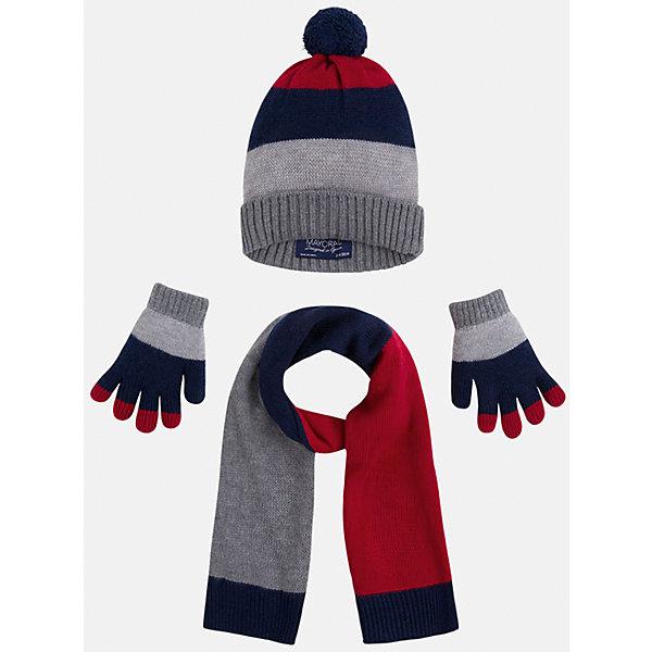 Комплект: шапка, шарф и перчатки для мальчика MayoralДемисезонные<br>Комплект из шапки, шарфа и перчаток от известного испанского бренда Mayoral(Майорал). Изделия сделаны из качественных материалов и отлично сохраняют тепло. Приятный дизайн и помпон на шапке непременно придутся по вкусу юному моднику!<br><br>Дополнительная информация:<br>Состав: 45% акрил, 30% вискоза, 15% полиамид, 10% шерсть<br>Цвет: серый/темно-синий/красный<br>Комплект из шапки, шарфа и перчаток Mayoral(Майорал) вы можете приобрести в нашем интернет-магазине.<br><br>Ширина мм: 89<br>Глубина мм: 117<br>Высота мм: 44<br>Вес г: 155<br>Цвет: бордовый<br>Возраст от месяцев: 24<br>Возраст до месяцев: 36<br>Пол: Мужской<br>Возраст: Детский<br>Размер: 50,52,54<br>SKU: 4820209
