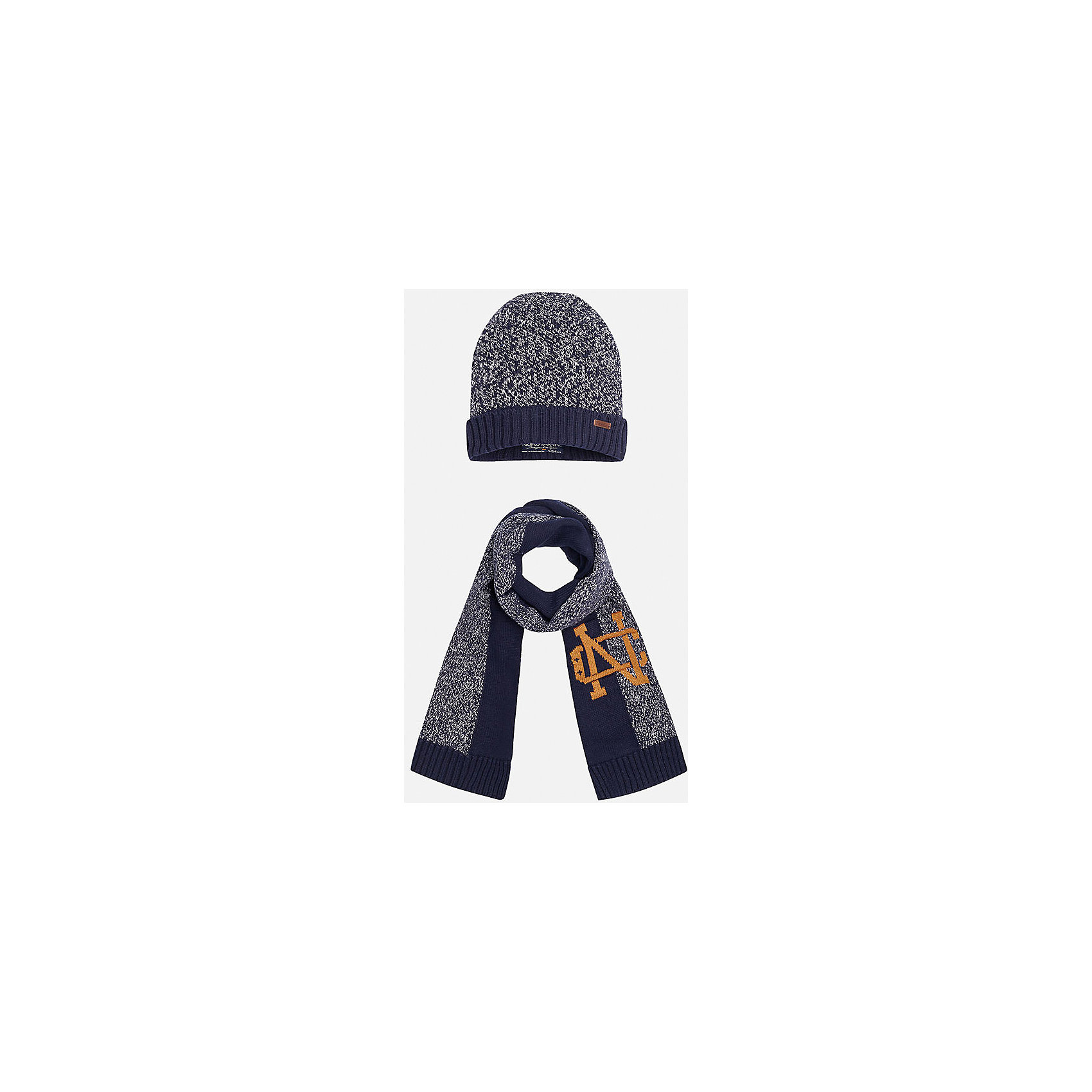 Комплект: шапка-шарф для мальчика MayoralКомплект из шапки и шарфа для мальчика от известного испанского бренда Mayoral. Изготовлены из 100% хлопка, приятного телу. Оригинальная расцветка с эмблемой - то, что нужно стильному джентльмену!<br>Дополнительная информация:<br>-цвет: синий/серый<br>-состав: 100% хлопок<br>Комплект из шапки и шарфа Mayoral вы можете приобрести в нашем интернет-магазине.<br><br>Ширина мм: 89<br>Глубина мм: 117<br>Высота мм: 44<br>Вес г: 155<br>Цвет: синий<br>Возраст от месяцев: 72<br>Возраст до месяцев: 84<br>Пол: Мужской<br>Возраст: Детский<br>Размер: 54,56,52<br>SKU: 4820288