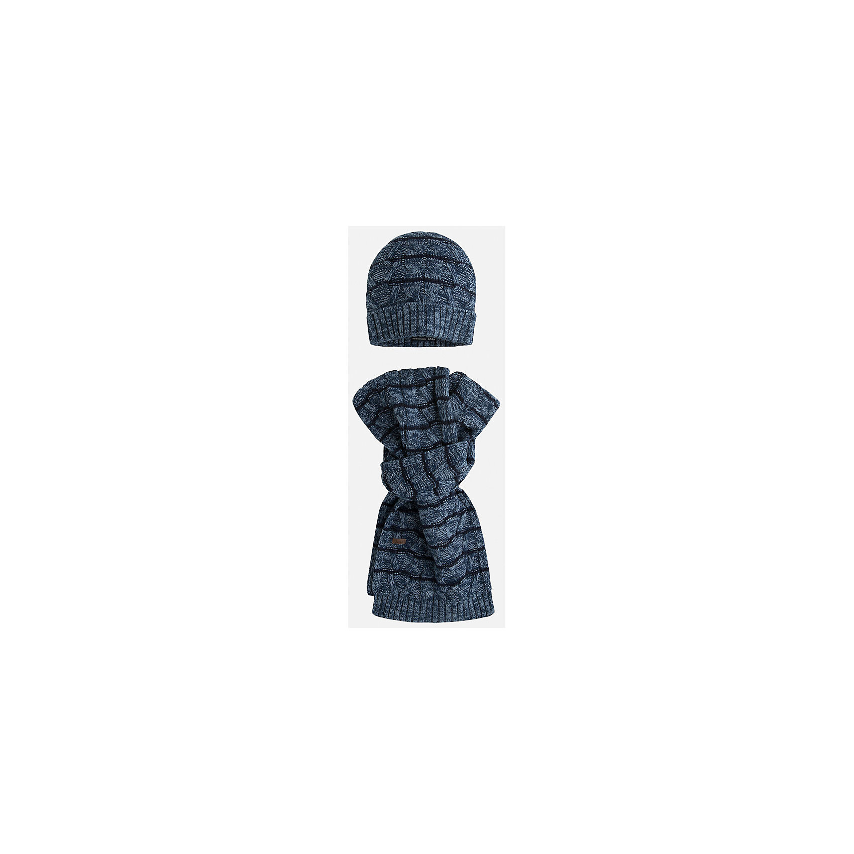 Комплект: шапка-шарф для мальчика MayoralКомплект из шапки и шарфа для мальчика от известного испанского бренда Mayoral изготовлен из эластичных мягких тканей. Приятный на вид дизайн комплекта в полоску всегда остается в моде!<br>Дополнительная информация:<br>-цвет: синий/черный<br>--состав: 100% акрил<br>Комплект из шапки и шарфа Mayoral можно приобрести  в нашем интернет-магазине.<br><br>Ширина мм: 89<br>Глубина мм: 117<br>Высота мм: 44<br>Вес г: 155<br>Цвет: синий<br>Возраст от месяцев: 72<br>Возраст до месяцев: 96<br>Пол: Мужской<br>Возраст: Детский<br>Размер: 56,54,52<br>SKU: 4820299